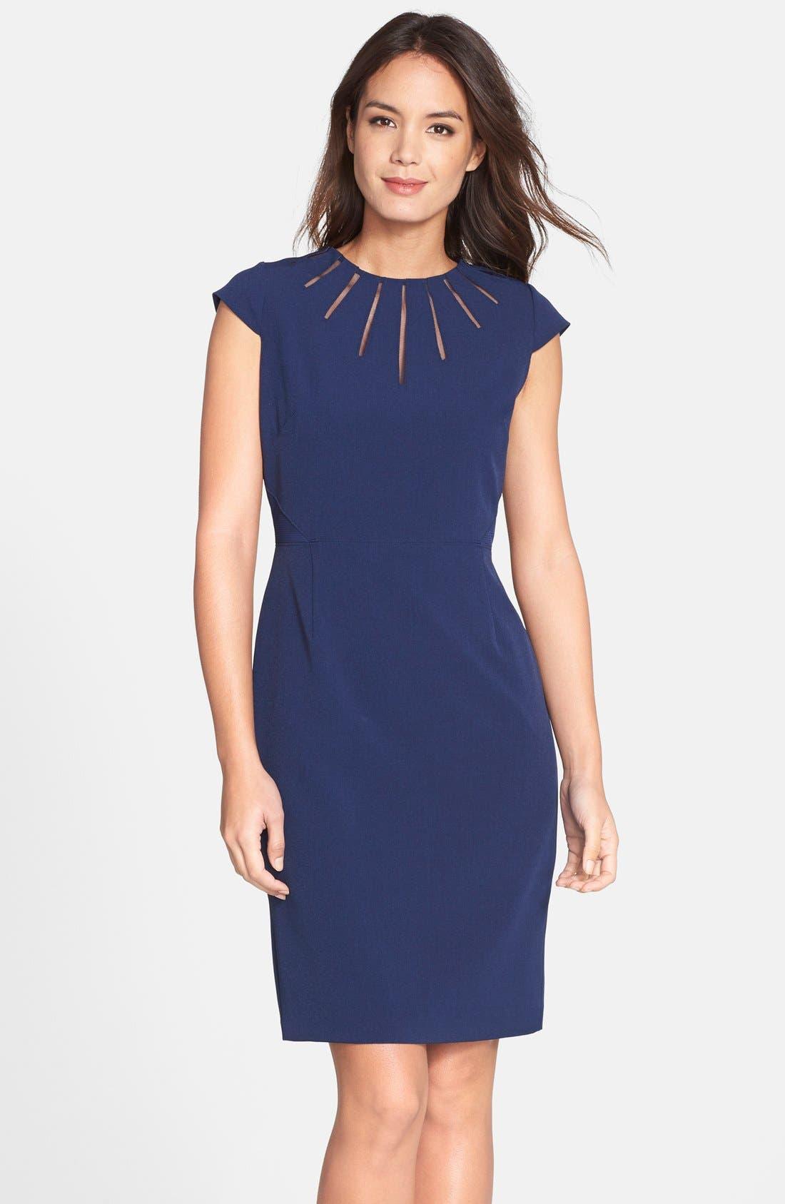 Alternate Image 1 Selected - Adrianna Papell Cutout Neck Crepe Sheath Dress (Regular & Petite)