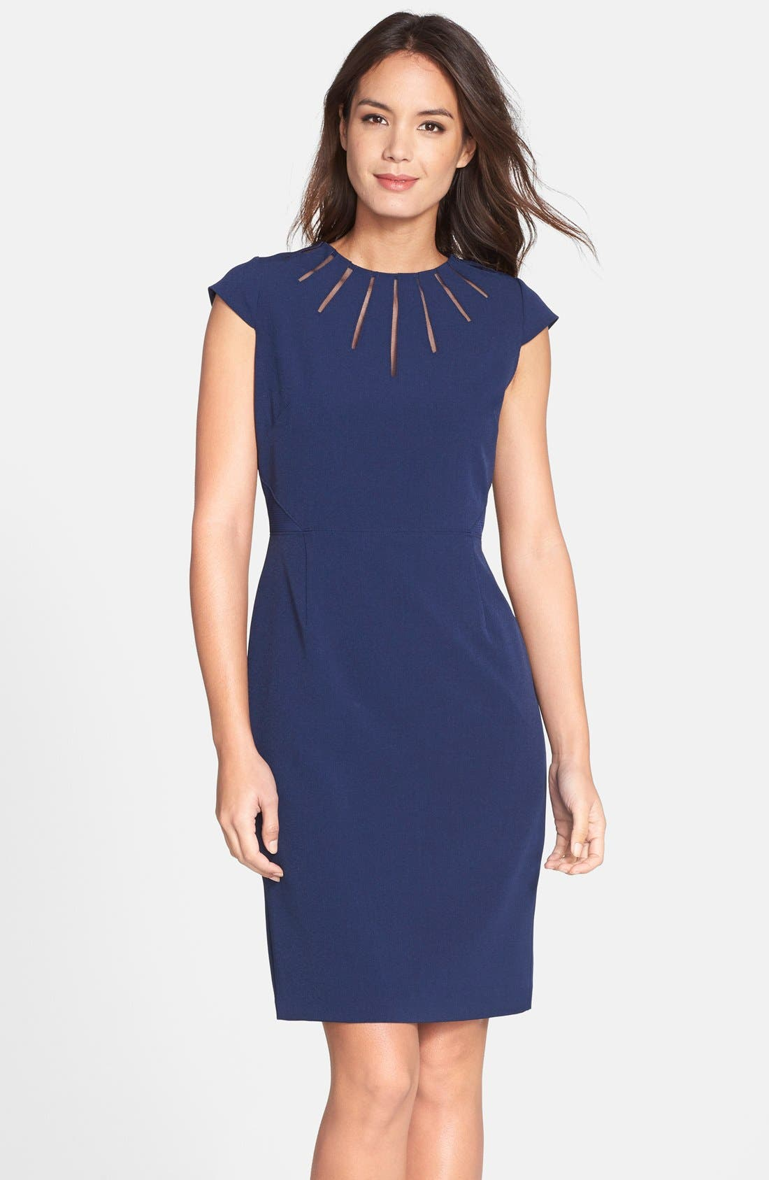 Main Image - Adrianna Papell Cutout Neck Crepe Sheath Dress (Regular & Petite)