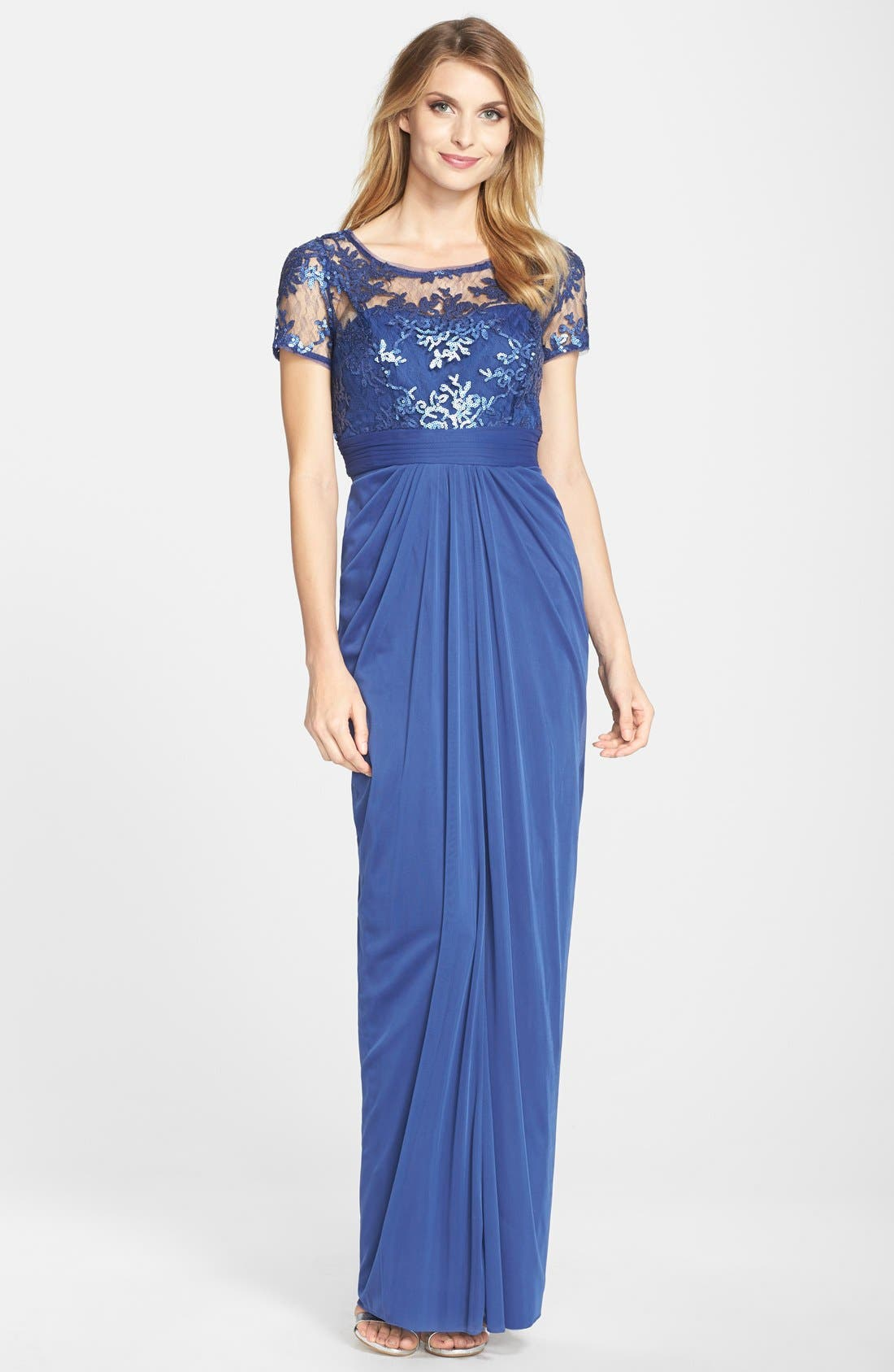 Alternate Image 1  - Adrianna Papell Sequin Lace Bodice Drape Tulle Column Gown (Regular & Petite)