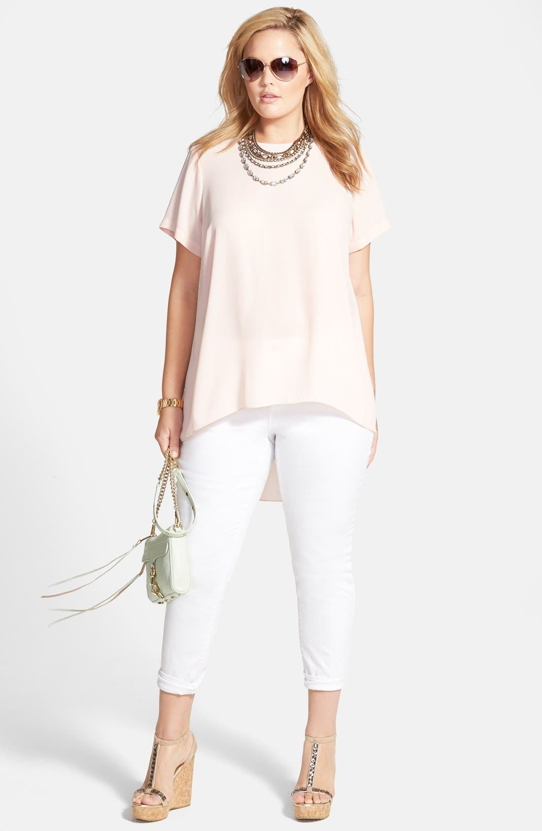 Alternate Image 4  - Two by Vince Camuto Skinny Jeans (White) (Plus Size)