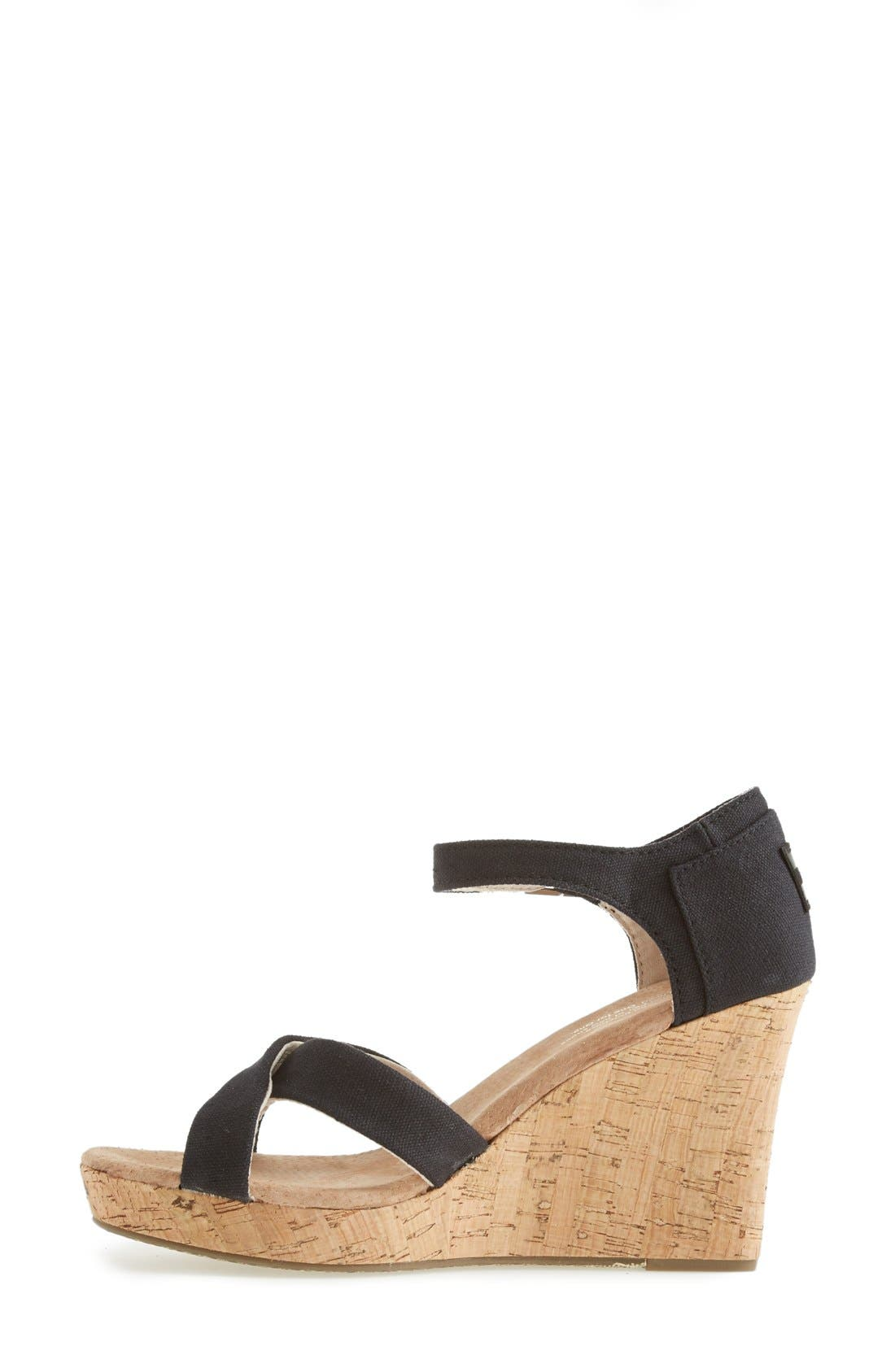 Alternate Image 6  - TOMS Canvas Ankle Strap Wedge Sandal (Women)