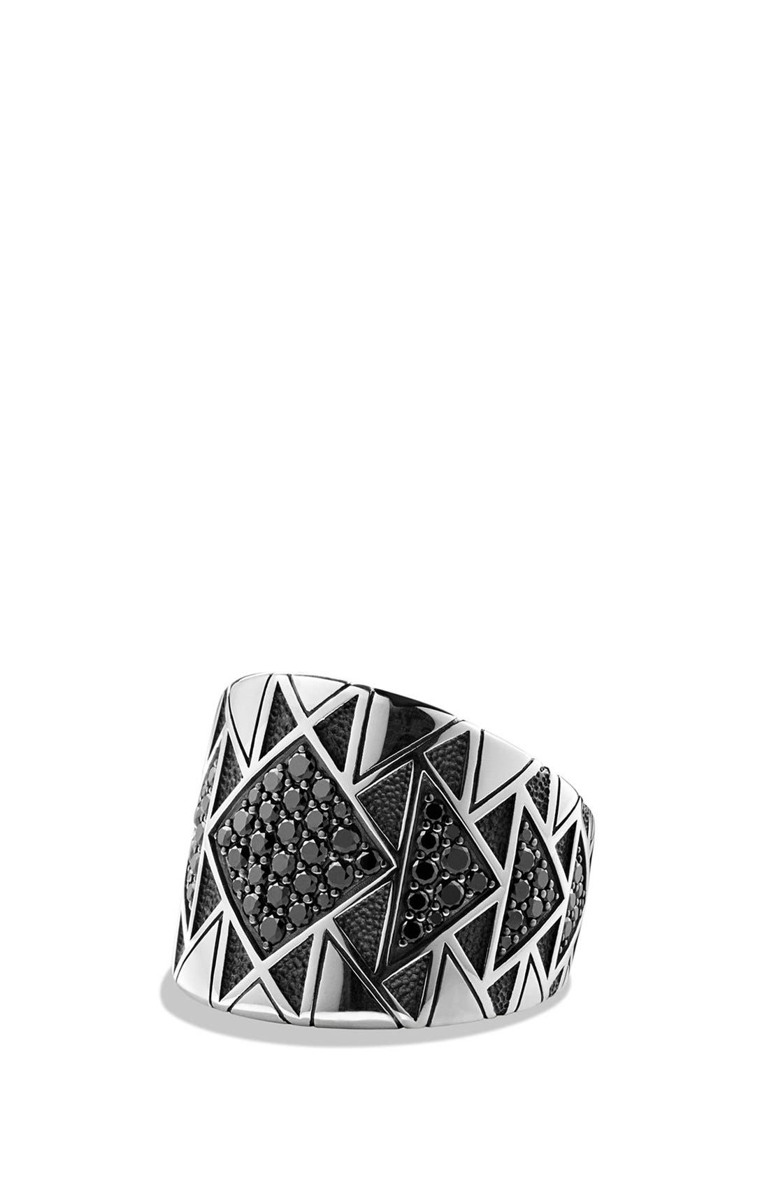 DAVID YURMAN 'Frontier' Signet Ring with Black Diamonds