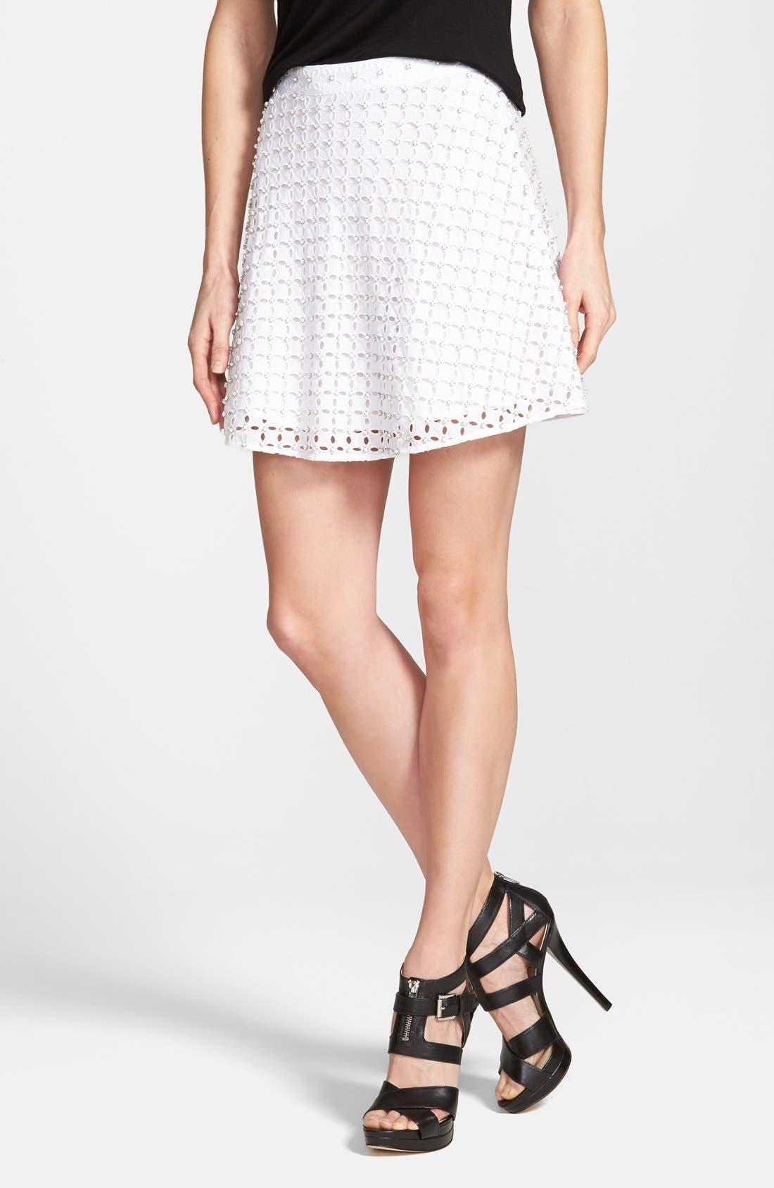 Main Image - MICHAEL Michael Kors Rhinestone Eyelet Miniskirt