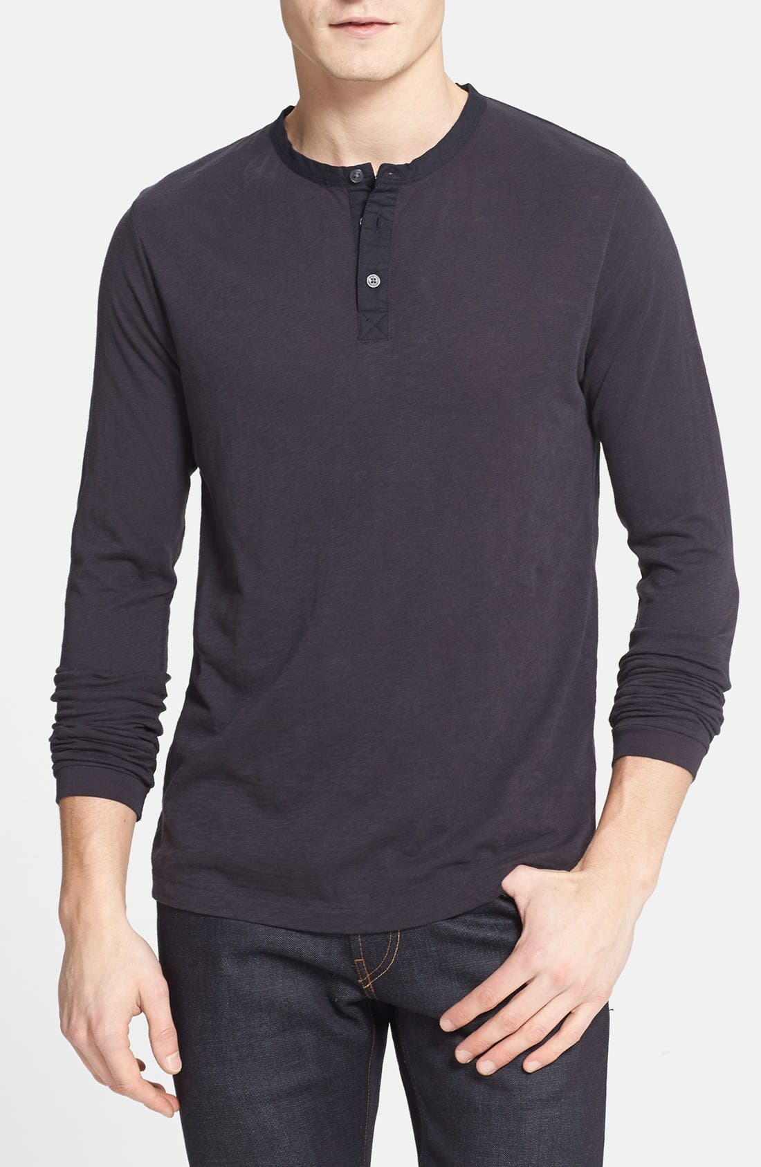 Alternate Image 1 Selected - French Connection Long Sleeve Slub Cotton Henley