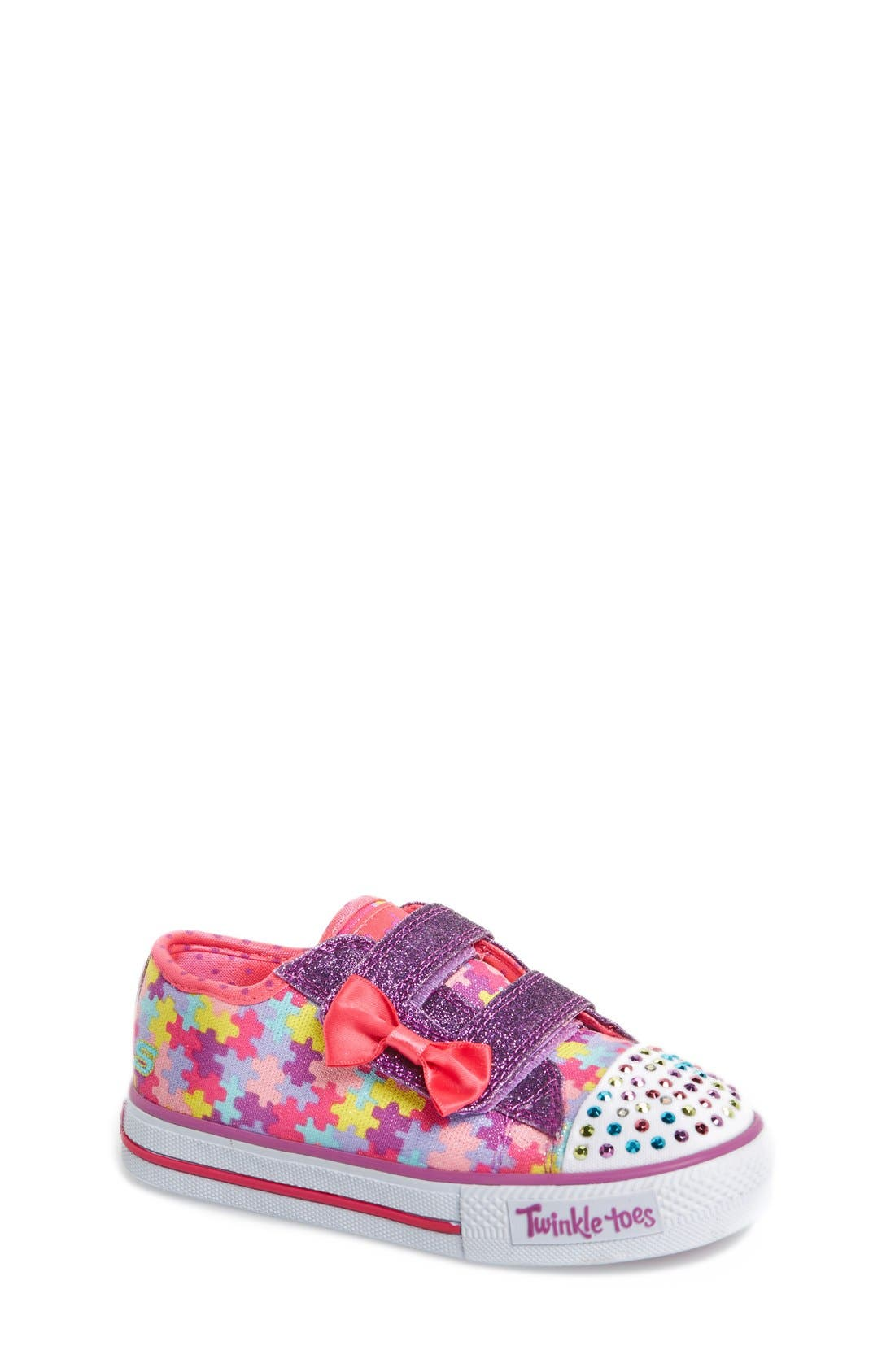 Main Image - SKECHERS 'Twinkle Toes - Shuffles Jumpin Jigsaw' Light-Up Sneaker (Toddler)