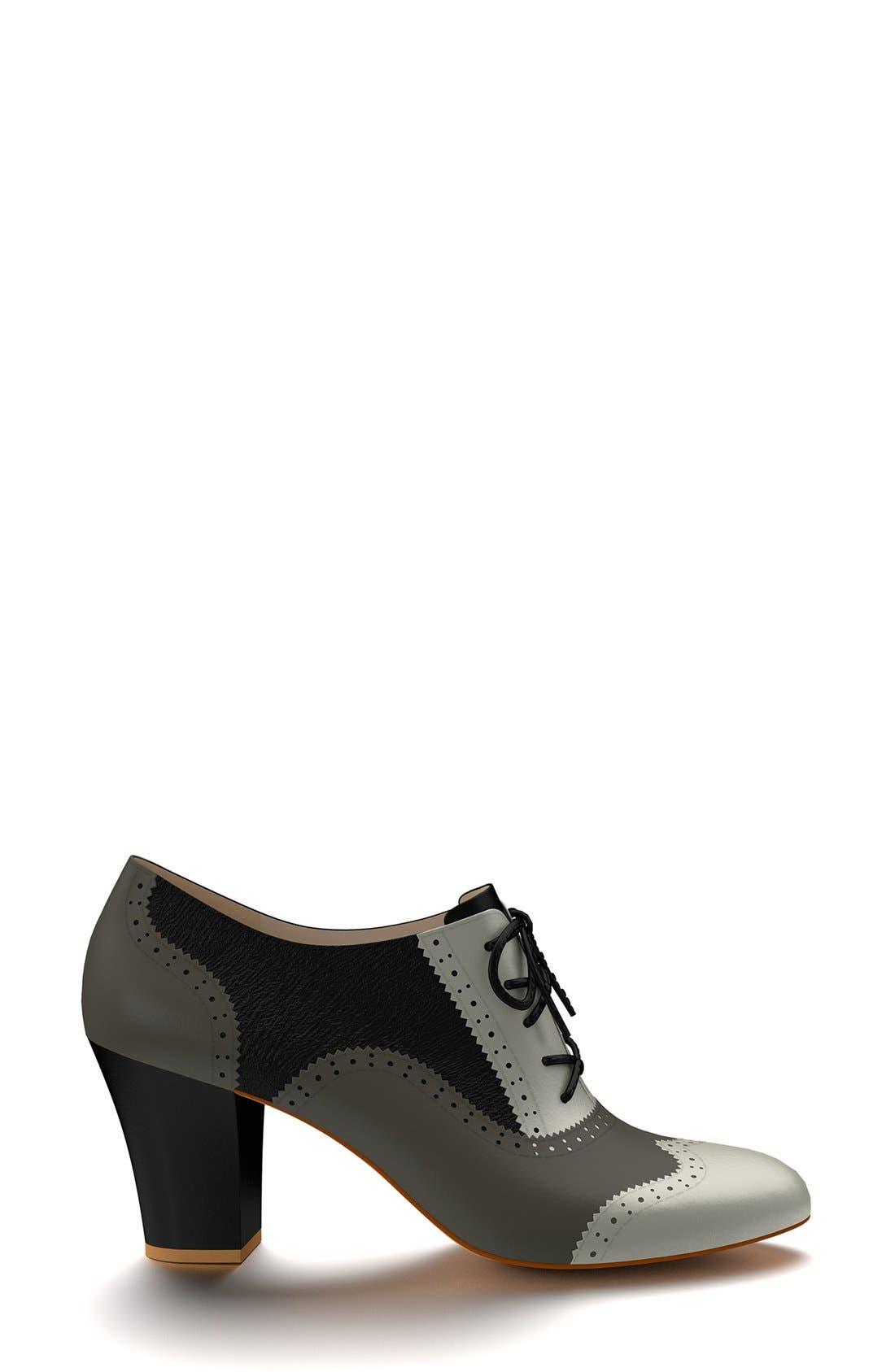 Alternate Image 3  - Shoes of Prey Colorblock Genuine Calf Hair Oxford Bootie (Women)