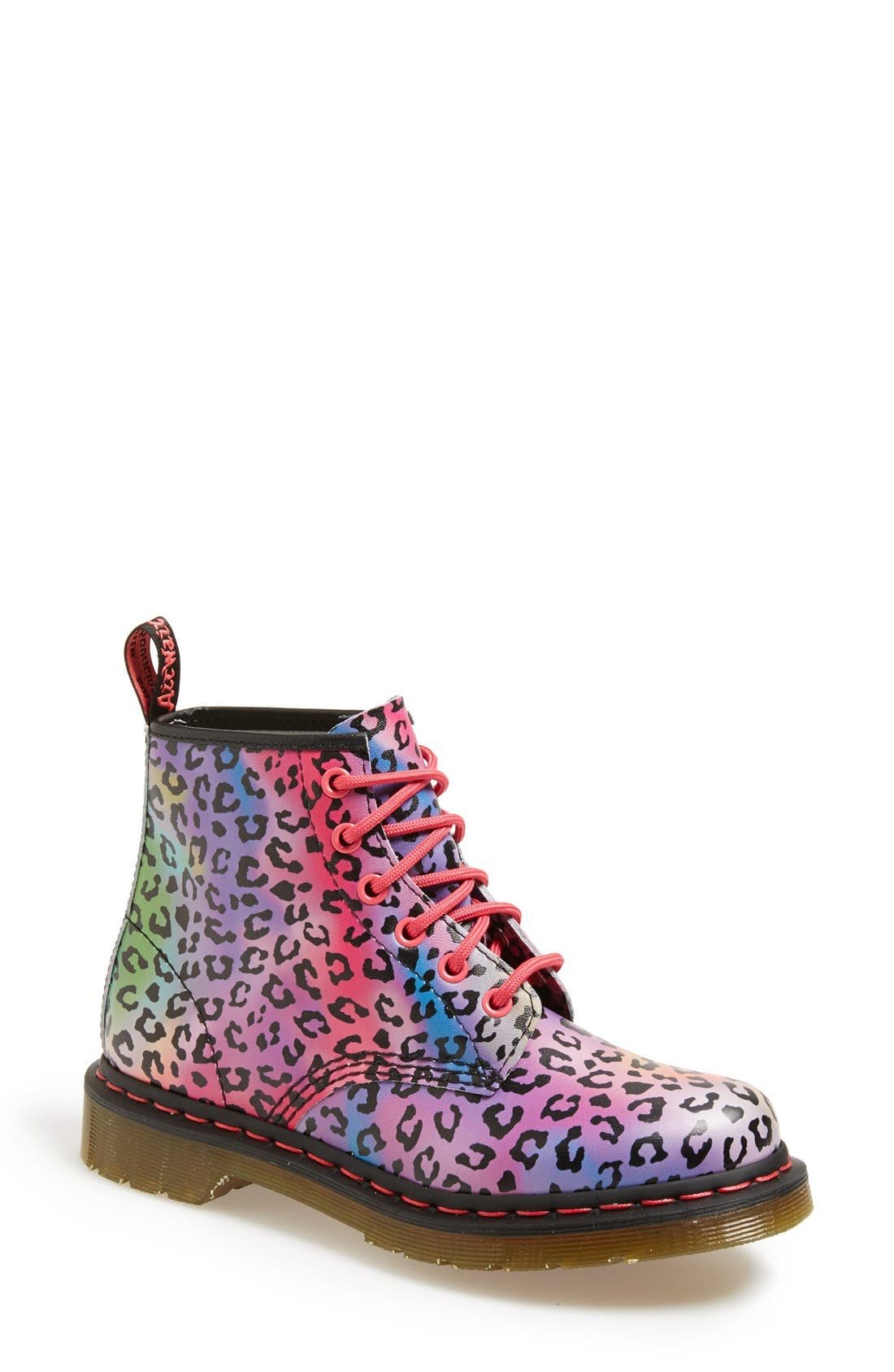 Alternate Image 1 Selected - Dr. Martens '101' Leopard Print Leather Boot (Women)