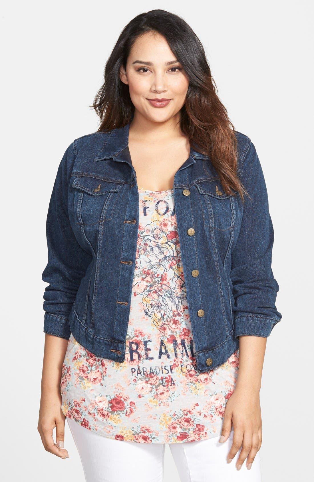 Alternate Image 1 Selected - Jessica Simpson 'Pixie' Denim Jacket (Plus Size)