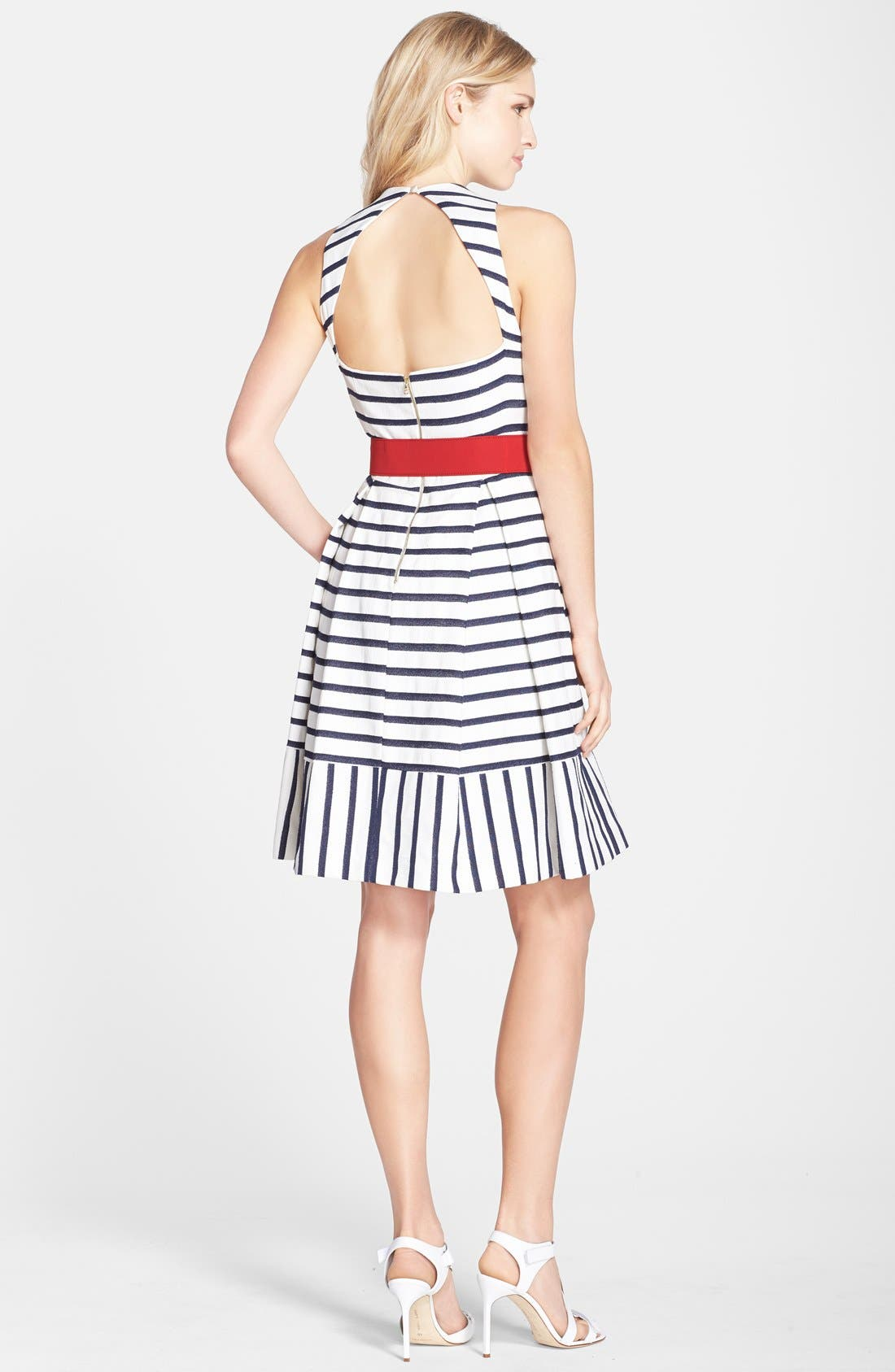 Alternate Image 2  - Eliza J Belted Stripe Fit & Flare Dress (Regular & Petite)