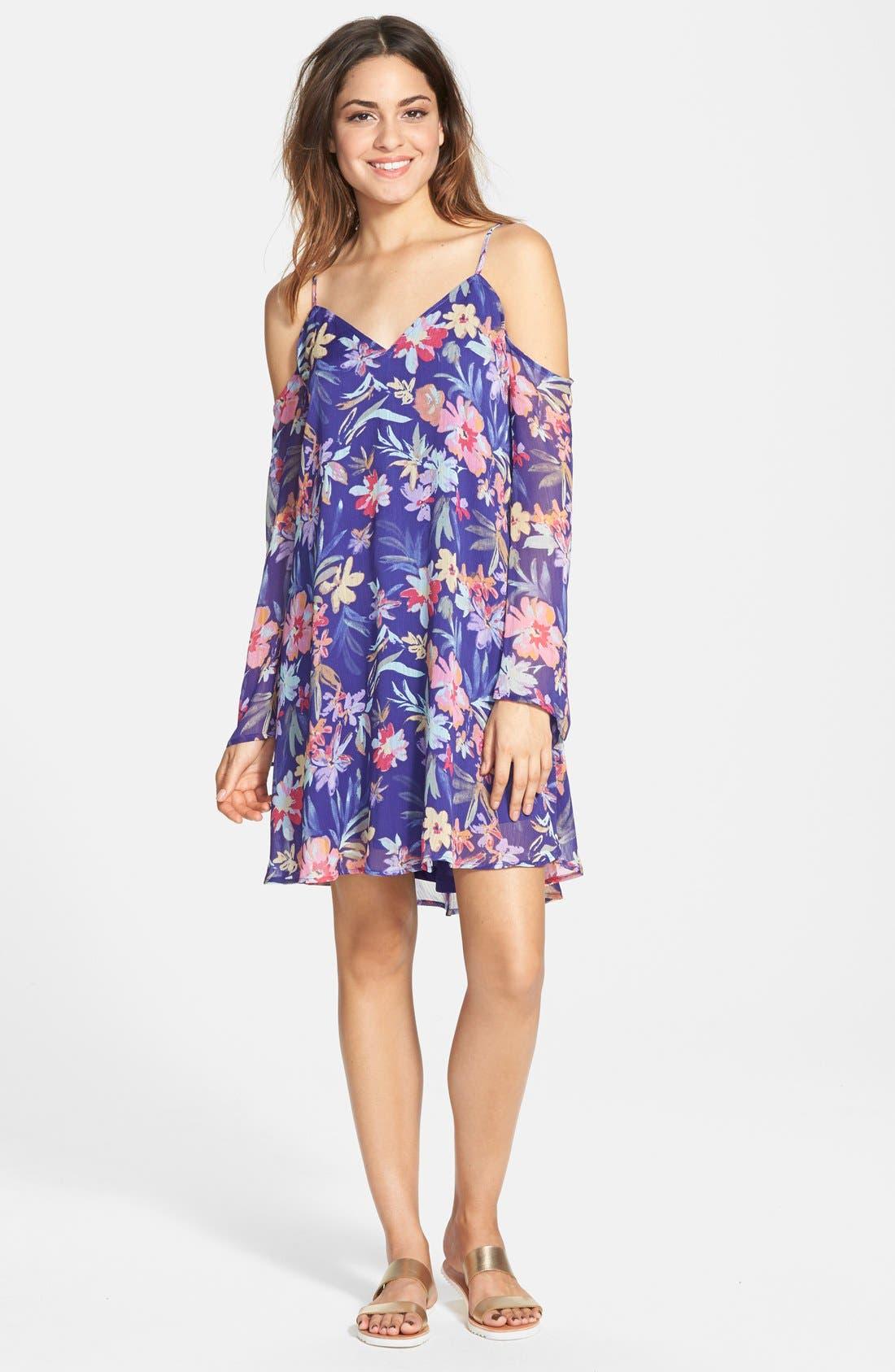 Main Image - Fire Floral Print Chiffon Cold Shoulder Dress (Juniors)