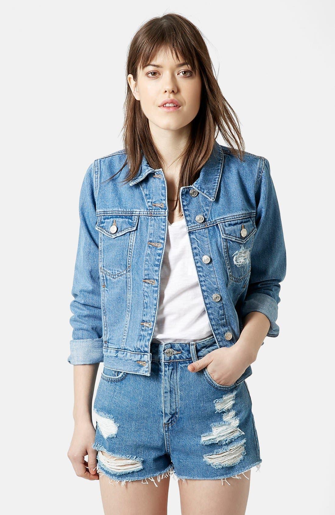 Alternate Image 1 Selected - Topshop Moto 'Tilda' Denim Jacket