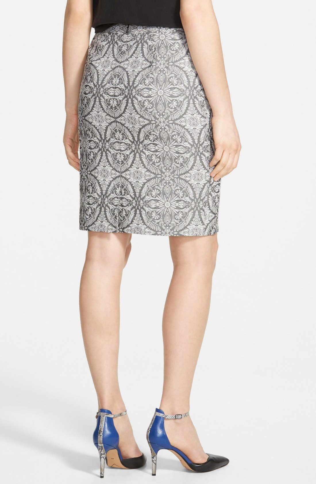Alternate Image 2  - Halogen® Welt Pocket Pencil Skirt (Regular & Petite)