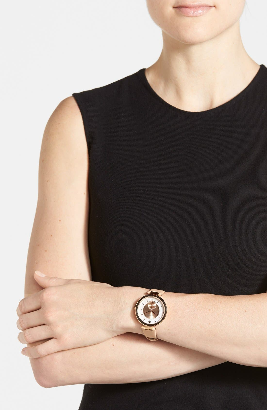 Alternate Image 4  - kate spade new york 'perry' crystal accent leather strap watch, 38mm