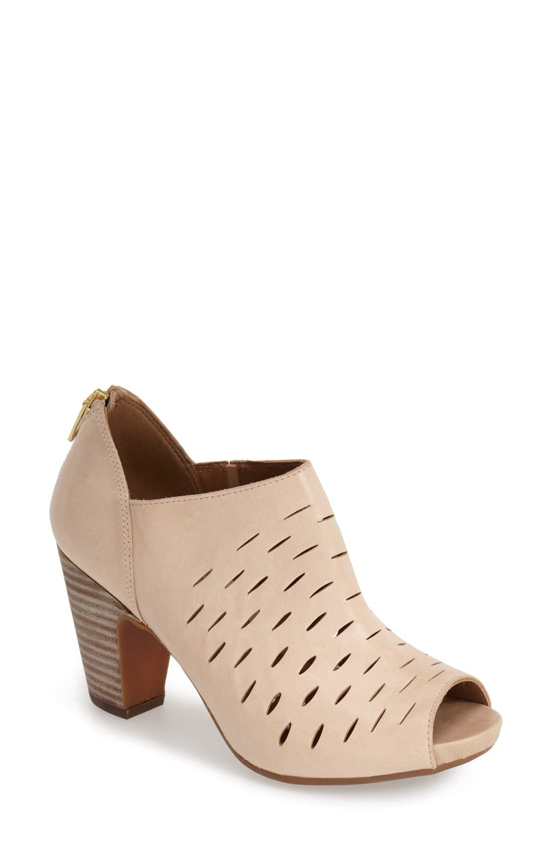 Alternate Image 1 Selected - Clarks® 'Okena Posh' Peep-Toe Leather Sandal (Women)