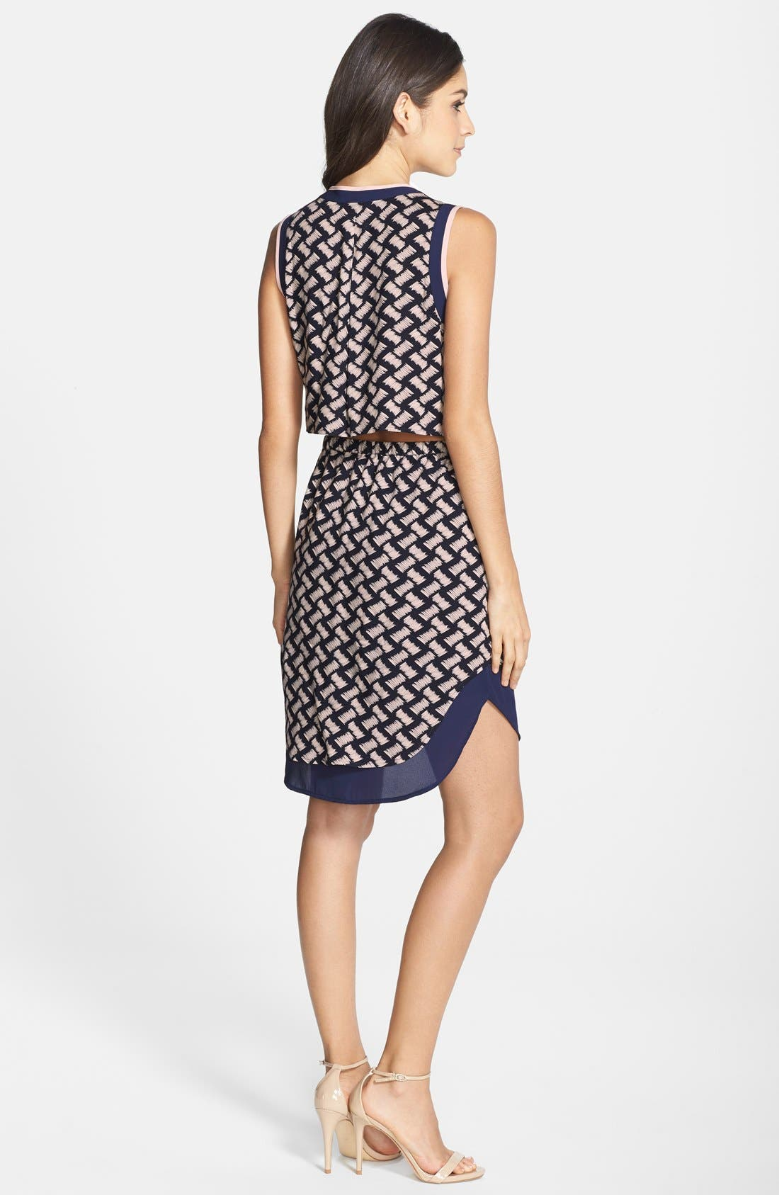 Alternate Image 2  - GREYLIN 'Osten' Print Back Cutout Sleeveless Shirtdress