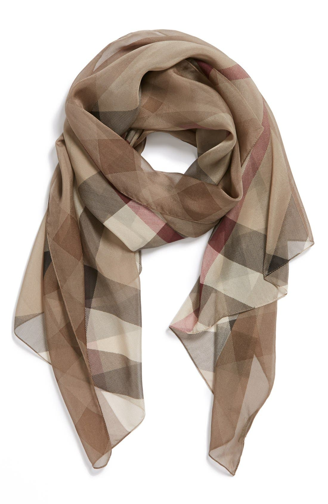 Main Image - Burberry Check Print Silk Scarf