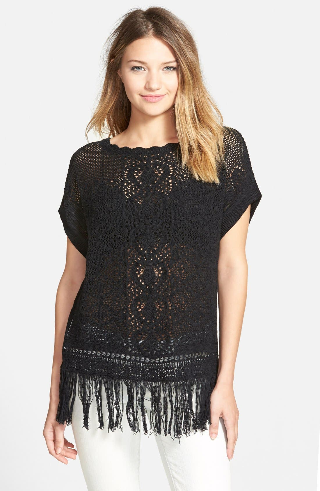 Alternate Image 1 Selected - Sun & Shadow 'Pretty Stitch' Crochet Fringe Tee (Juniors)