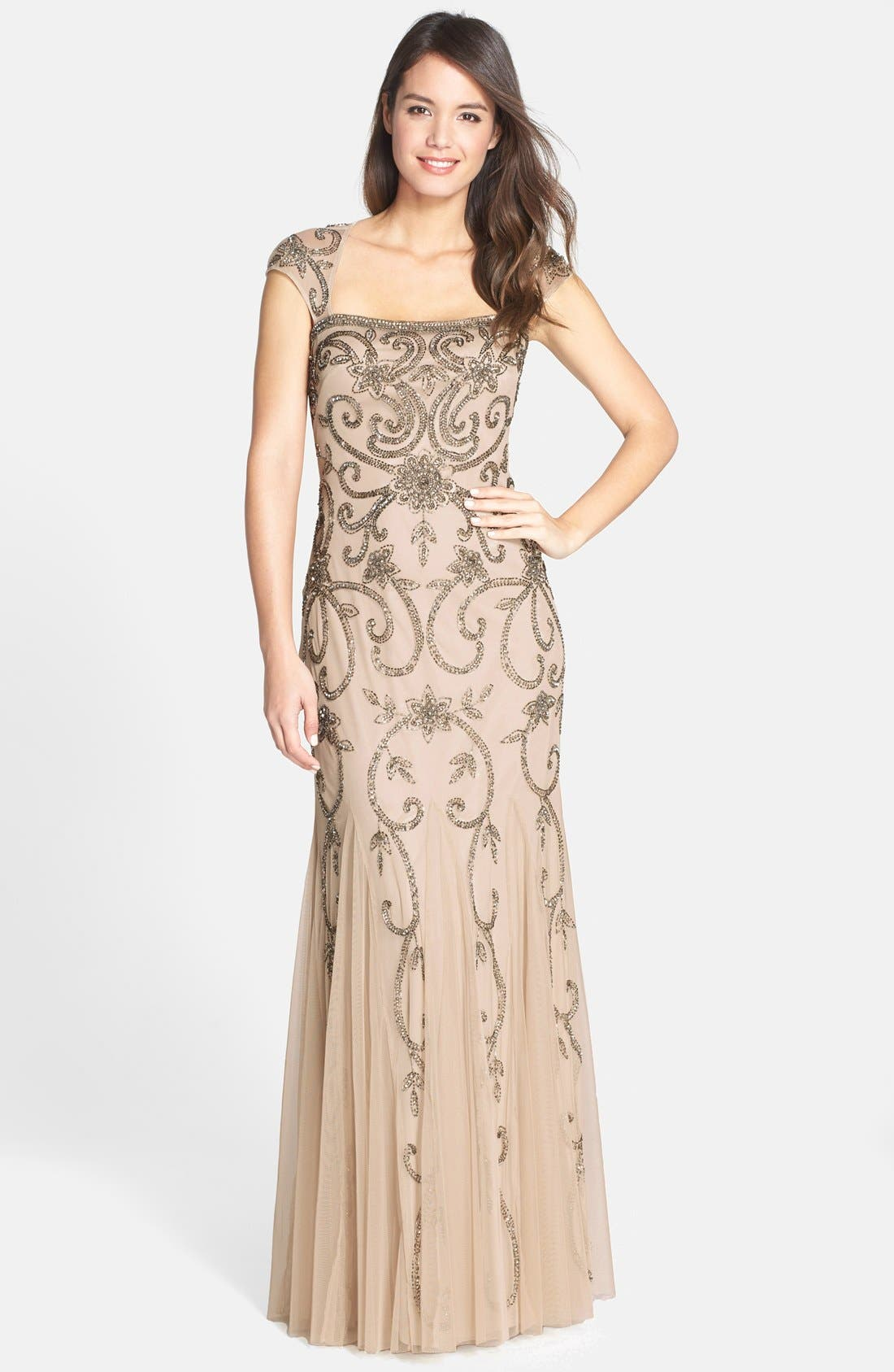 Alternate Image 1 Selected - Adrianna Papell Beaded Cap Sleeve Trumpet Gown