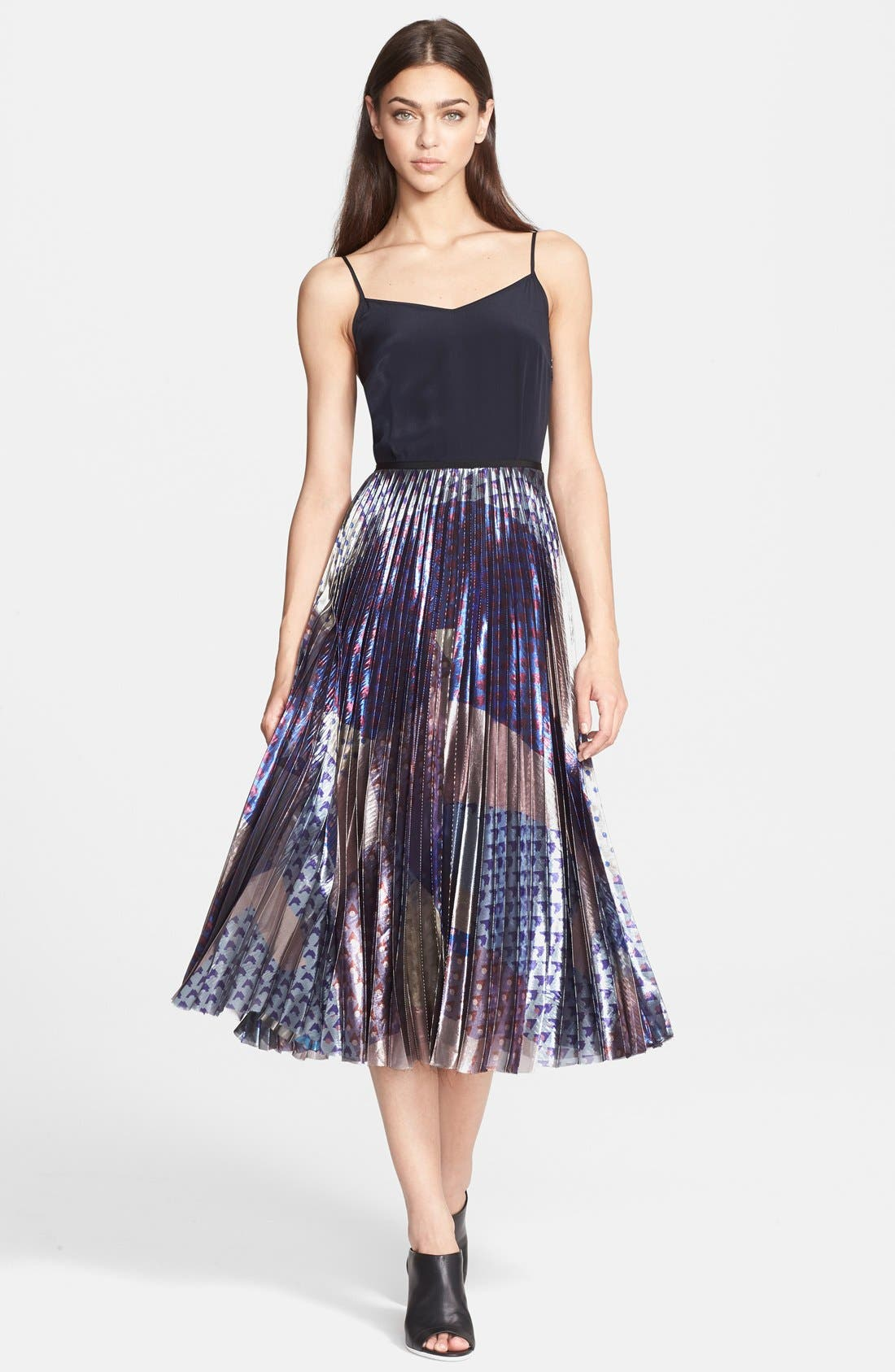 Main Image - Victoria, Victoria Beckham Pleated Print Lamé Midi Dress