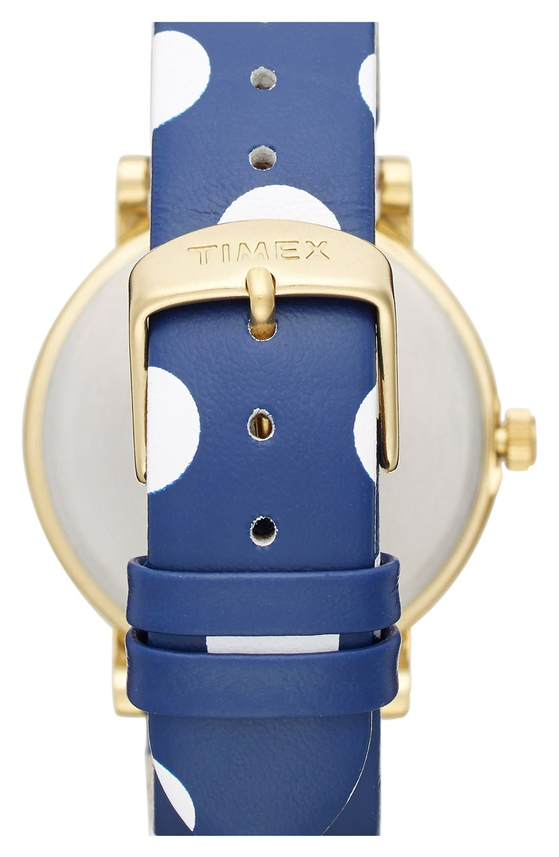 Alternate Image 2  - Timex® 'Classic' Dot Leather Strap Watch, 38mm