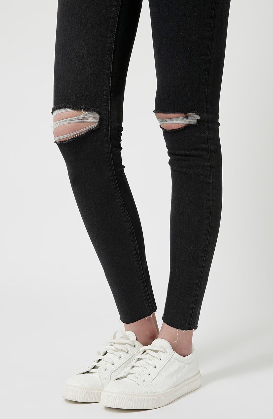 Alternate Image 4  - Topshop 'Jamie' Ripped Skinny Jeans (Black) (Petite)