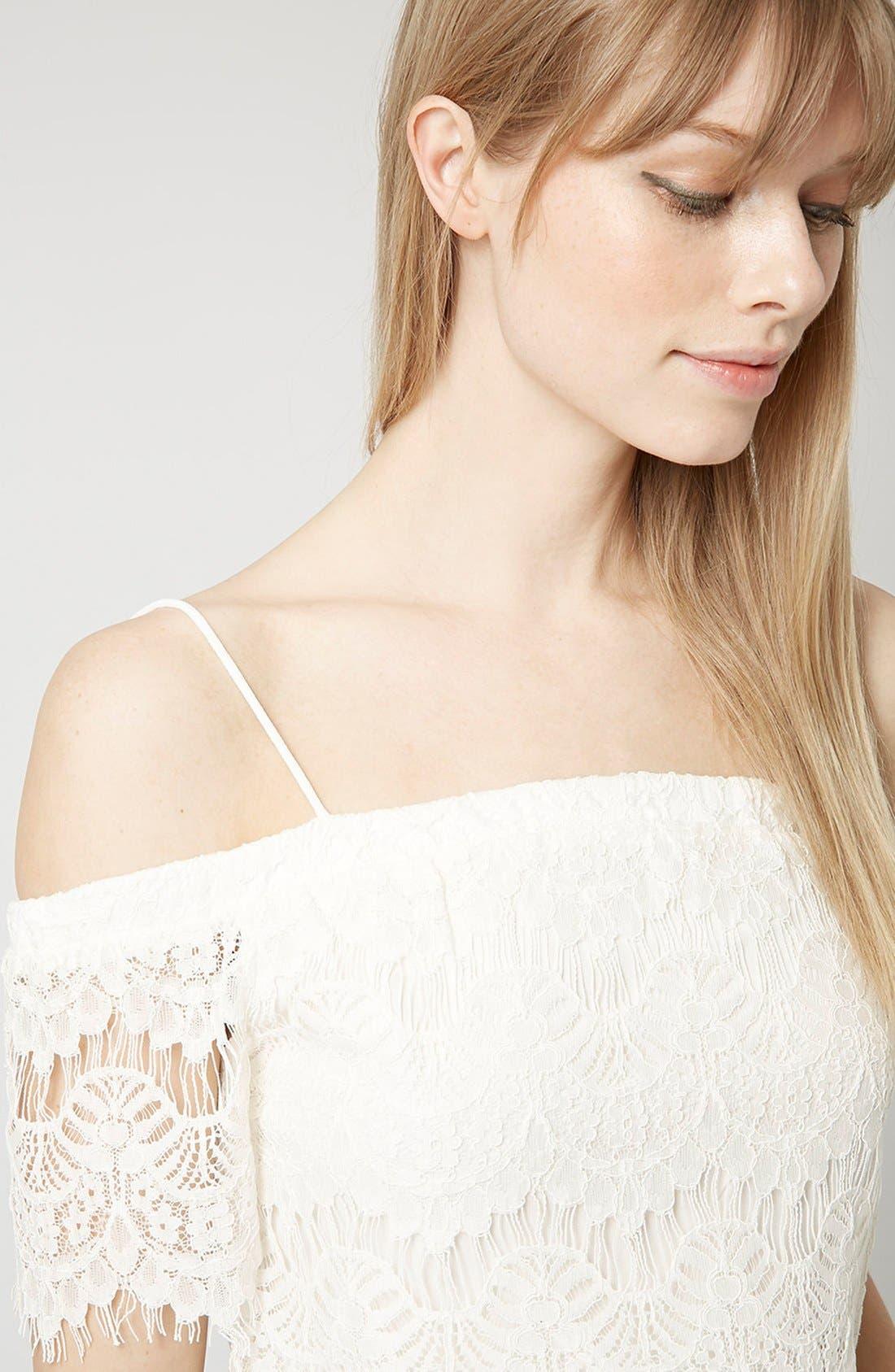 Alternate Image 4  - Topshop Off the Shoulder Lace Crop Top
