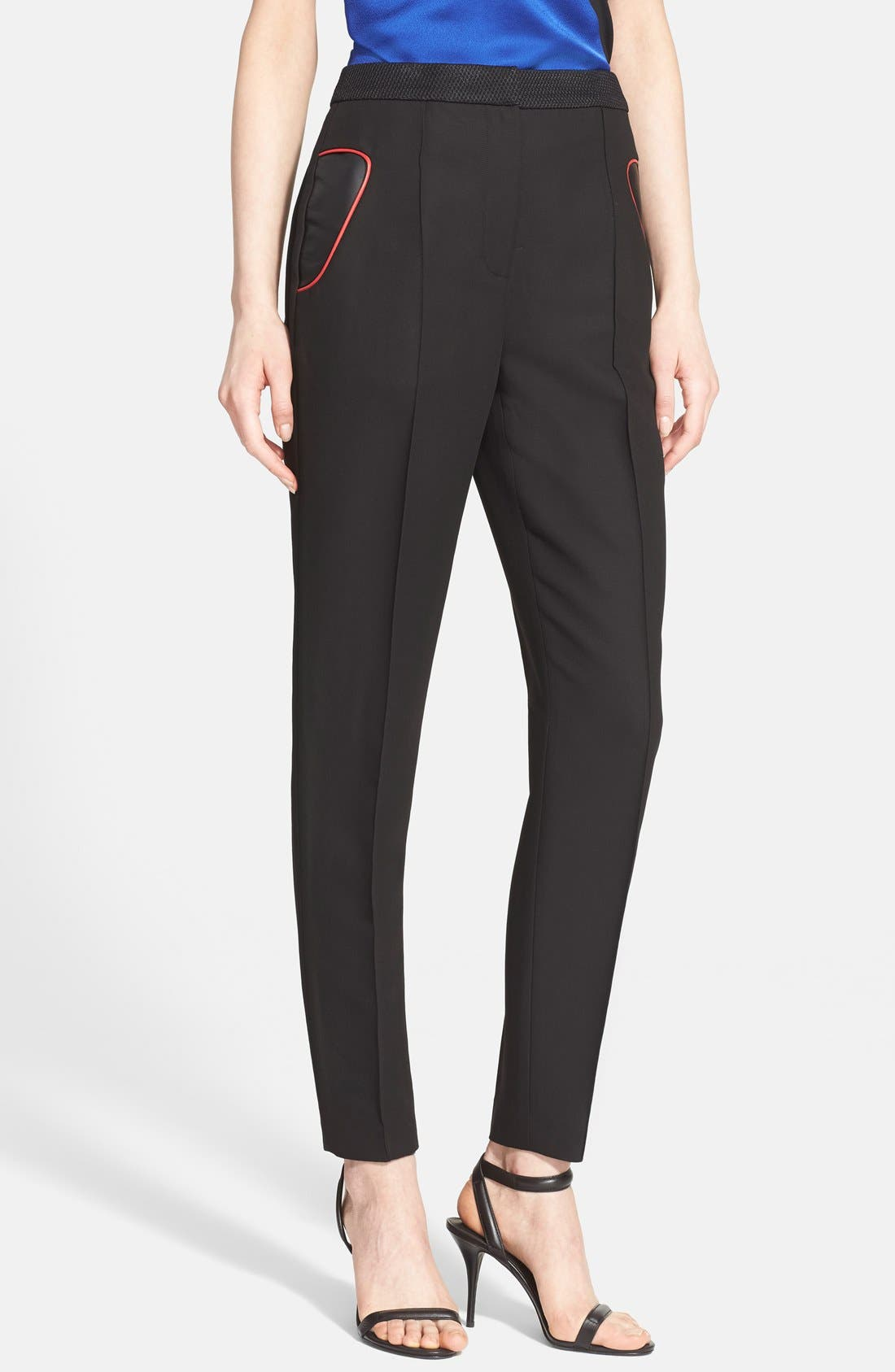 Main Image - Alexander Wang High Waist Tailored Pants with Leather Detail