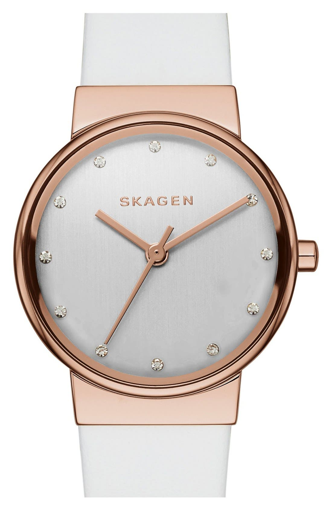 Alternate Image 1 Selected - Skagen 'Ancher' Crystal Index Leather Strap Watch, 26mm (Nordstrom Exclusive)