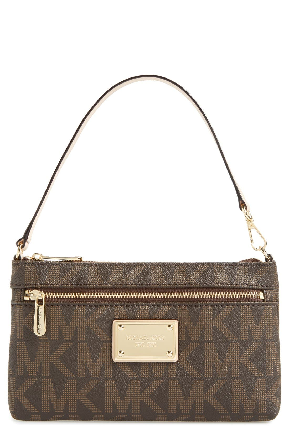 Alternate Image 1 Selected - MICHAEL Michael Kors 'Signature – Large' Zip Wristlet