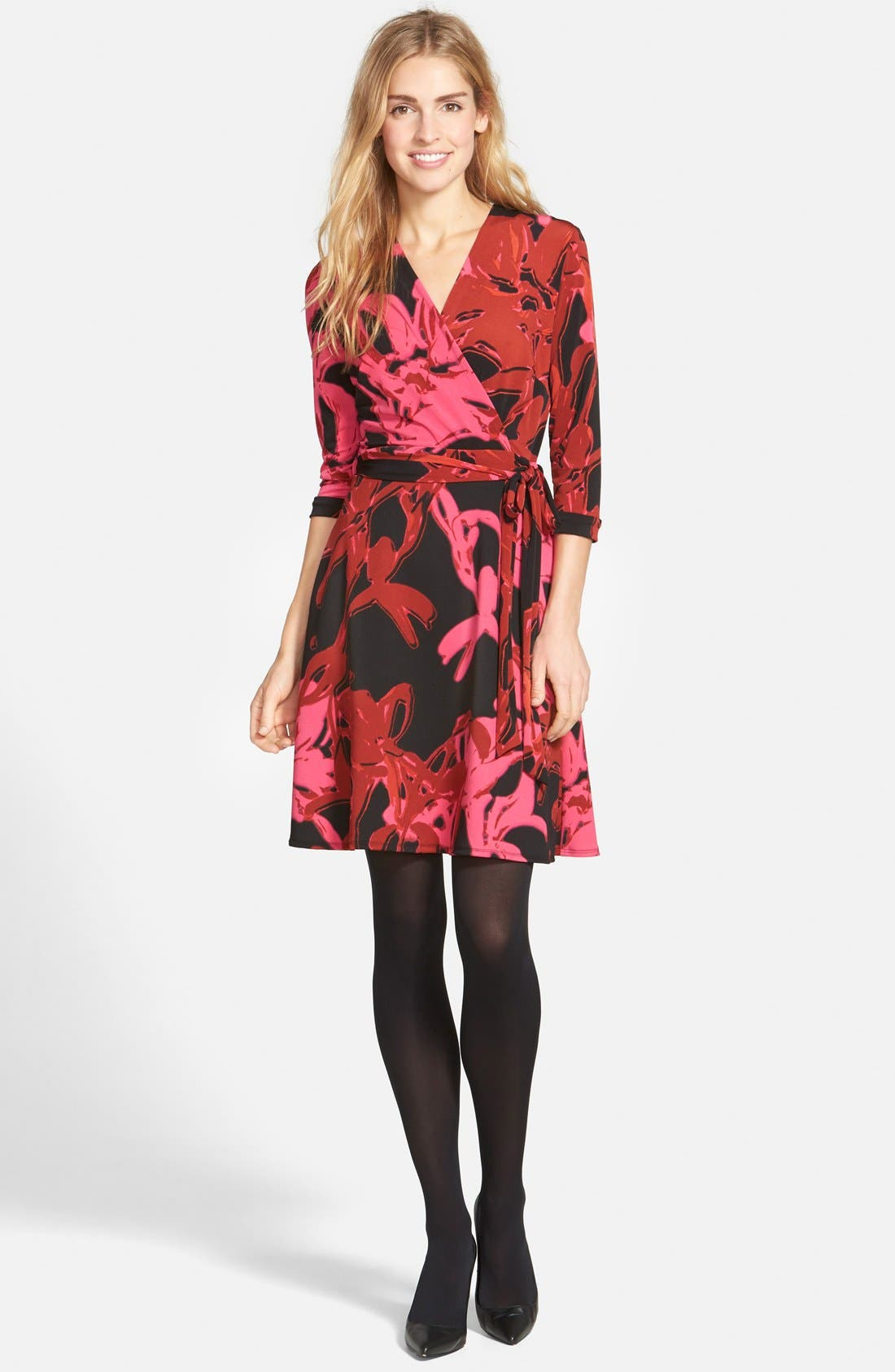 Alternate Image 5  - Taylor Dresses Print Jersey & Scuba Faux Wrap Dress (Regular & Petite)