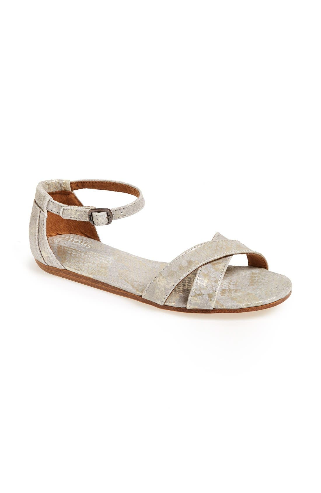 Alternate Image 1 Selected - TOMS 'Correa' Snake-Embossed Suede Sandal (Women)