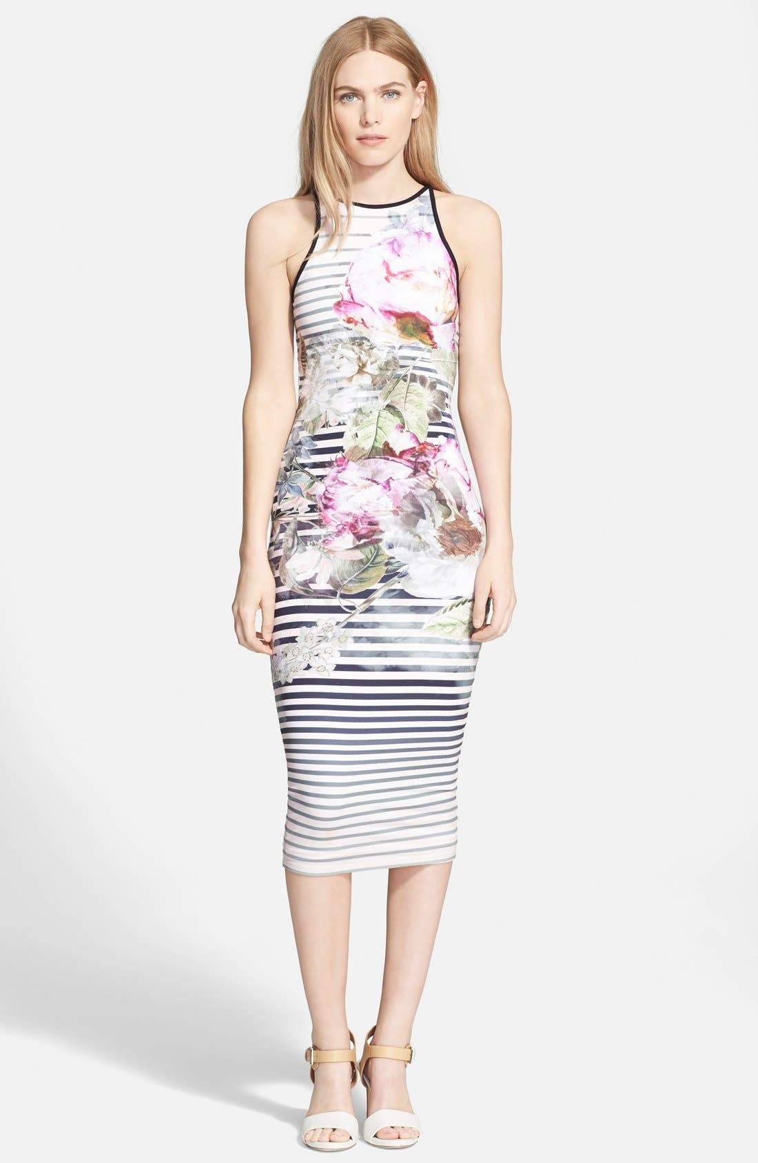 Alternate Image 1 Selected - Ted Baker London 'Laya Peony' Stripe Midi Dress