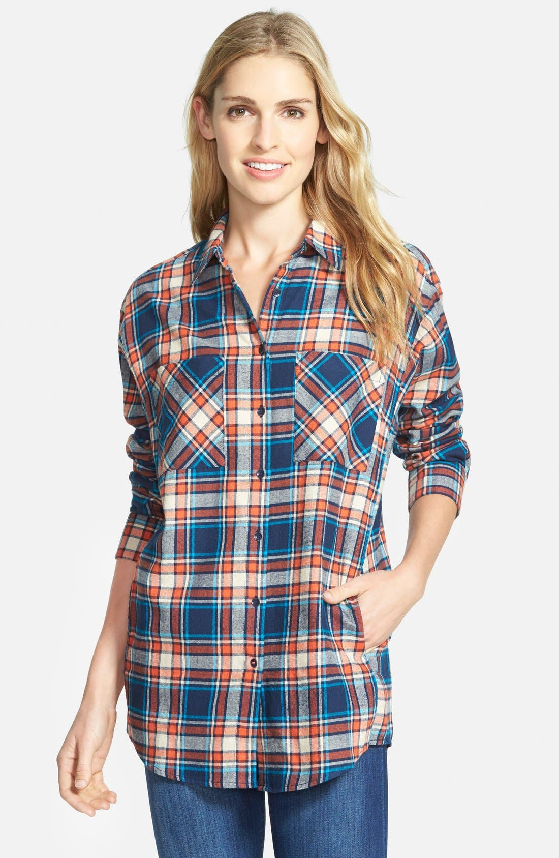 Alternate Image 1 Selected - Sandra Plaid Cotton Flannel Boyfriend Shirt