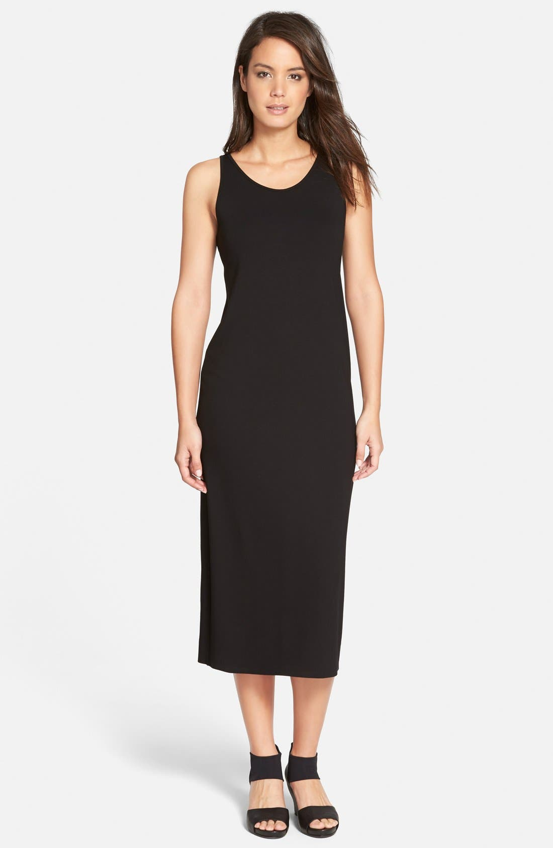 Eileen Fisher Scoop Neck Jersey Midi Dress (Regular ...