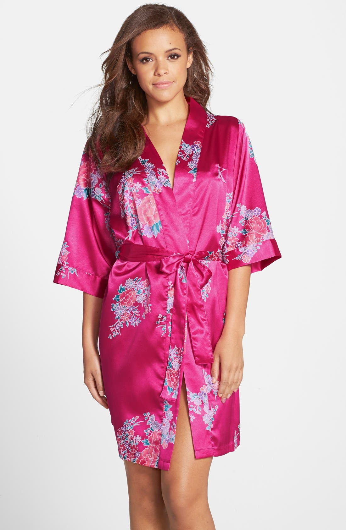 Alternate Image 1 Selected - Cathy's Concepts Monogram Floral Satin Robe