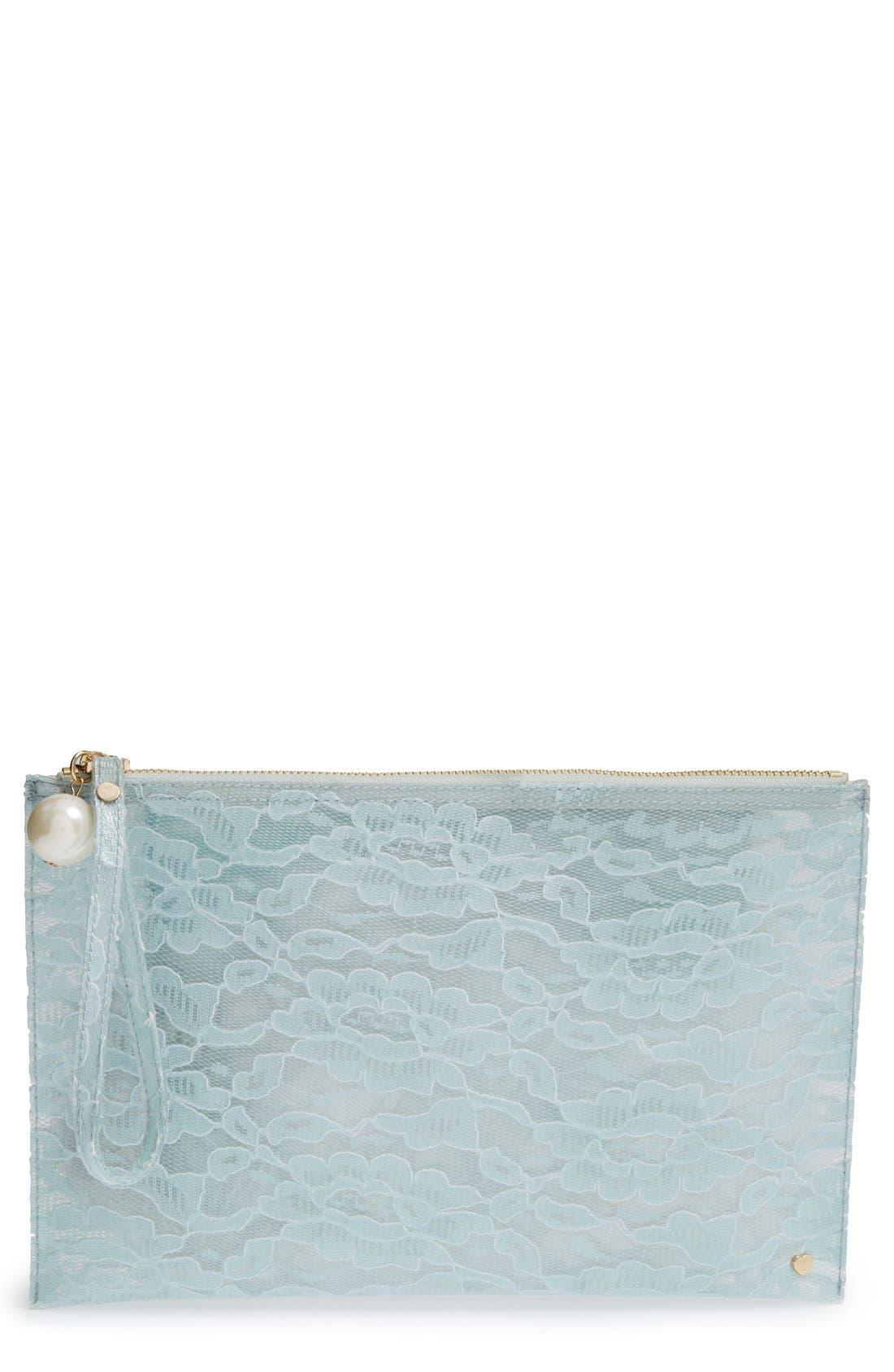 Alternate Image 1 Selected - Deux Lux 'Amour' Transparent Lace Jelly Pouch