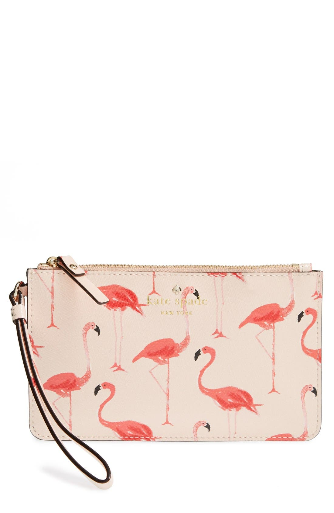 Main Image - kate spade new york 'cedar street - flamingos slim bee' wristlet