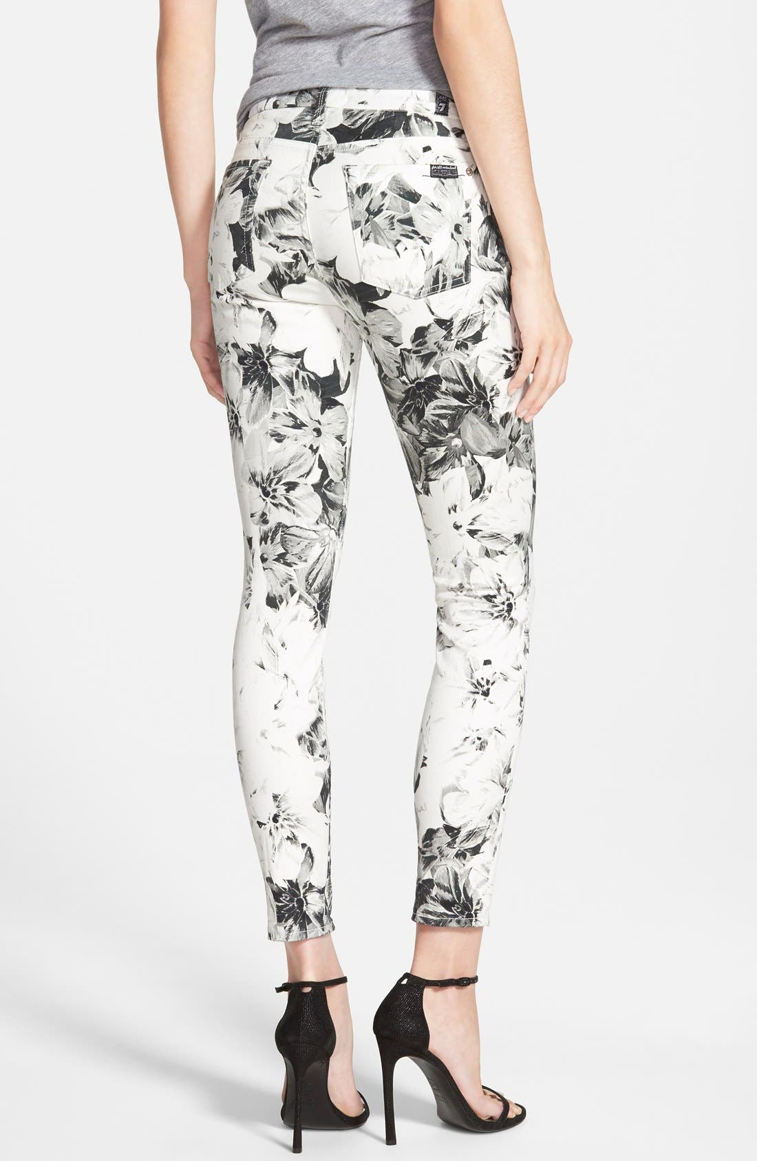 Alternate Image 2  - 7 For All Mankind® High Waist Ankle Skinny Jeans (X-Ray Floral)