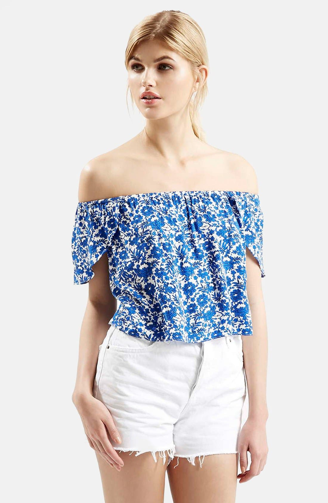 Main Image - Topshop Floral Print Off the Shoulder Top