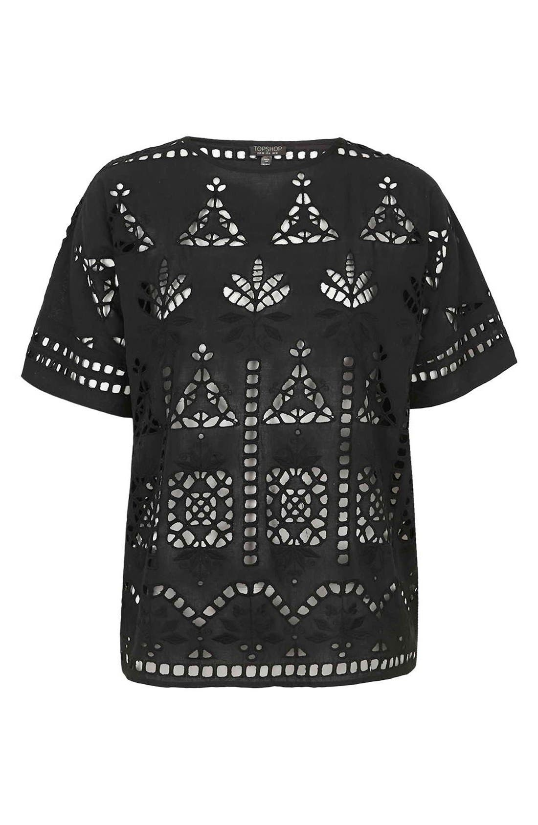 Alternate Image 3  - Topshop Embroidered Cutout Tee