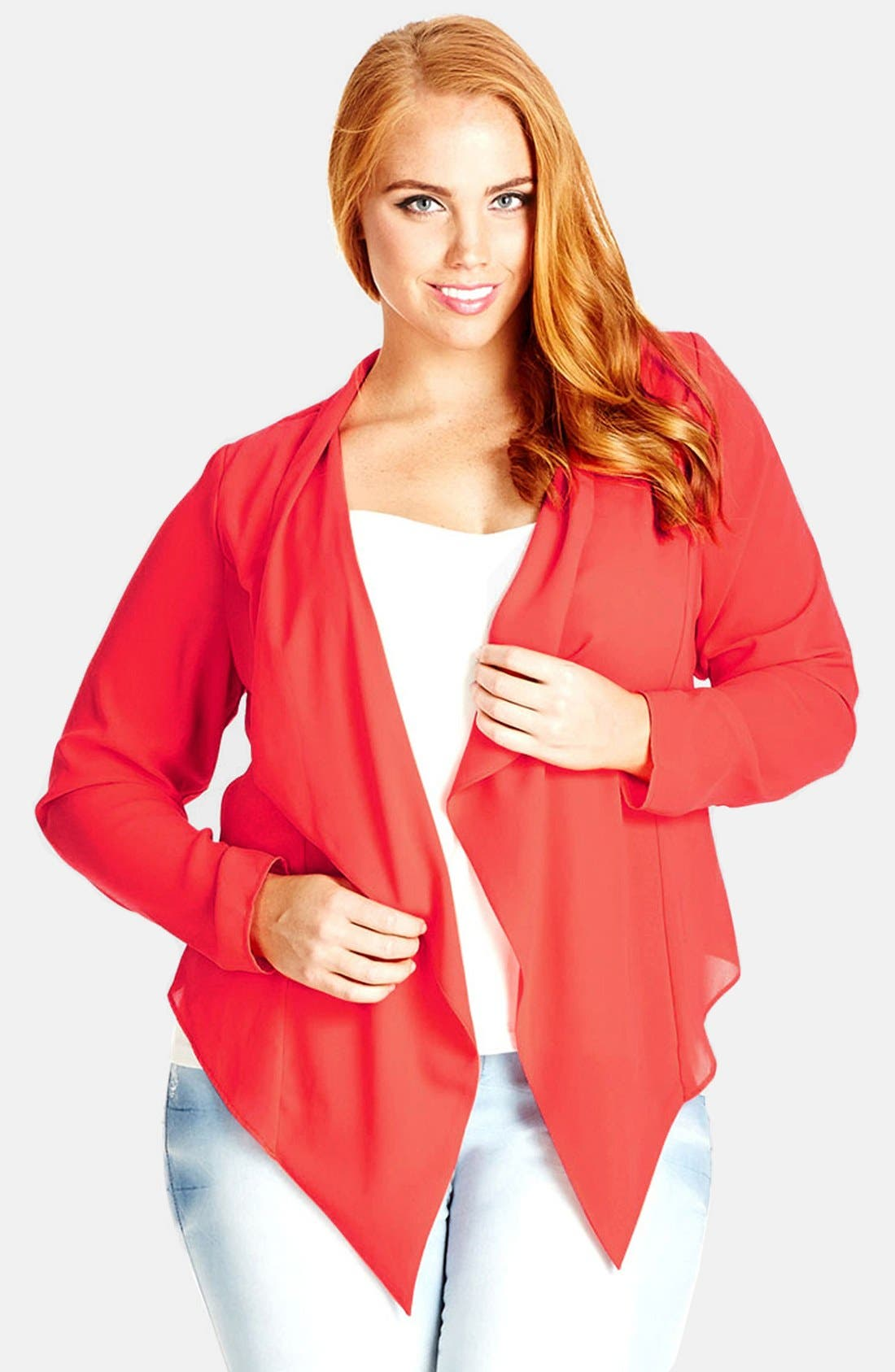 Alternate Image 1 Selected - City Chic Crossover Back Drape Front Jacket (Plus Size)