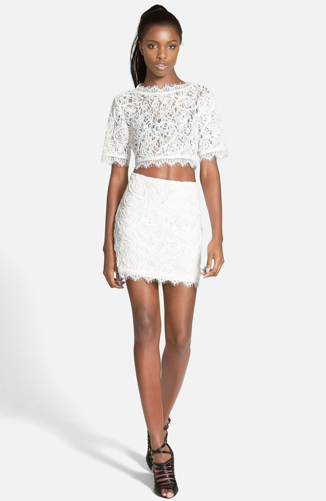 Alternate Image 4  - Leith Lace Miniskirt