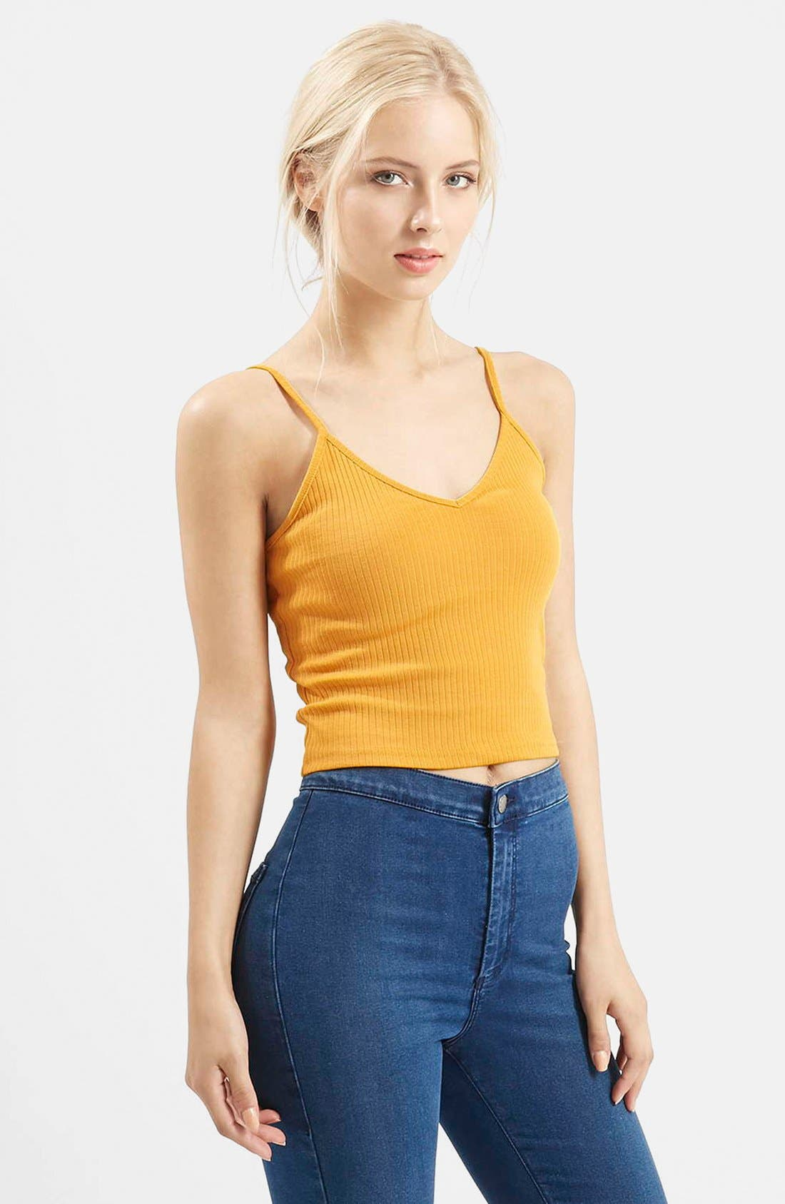 Alternate Image 1 Selected - Topshop Ribbed Crop Camisole