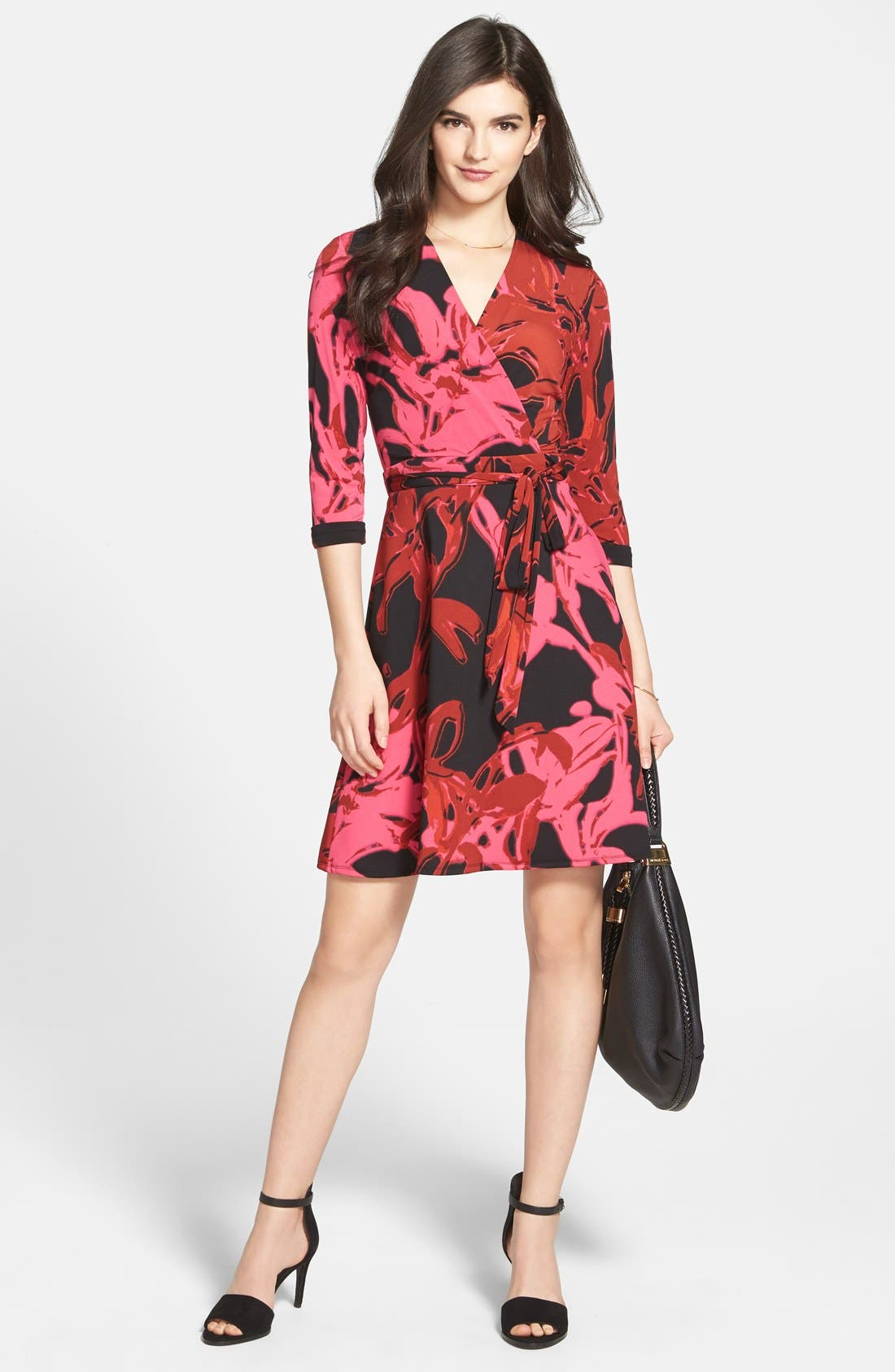 Main Image - Taylor Dresses Print Jersey & Scuba Faux Wrap Dress (Regular & Petite)