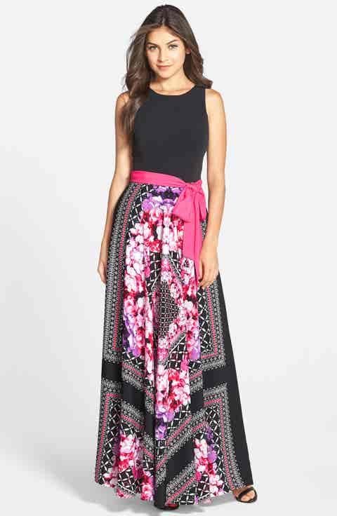 Eliza J Scarf Print Jersey   Crêpe de Chine Maxi Dress (Regular   Petite)