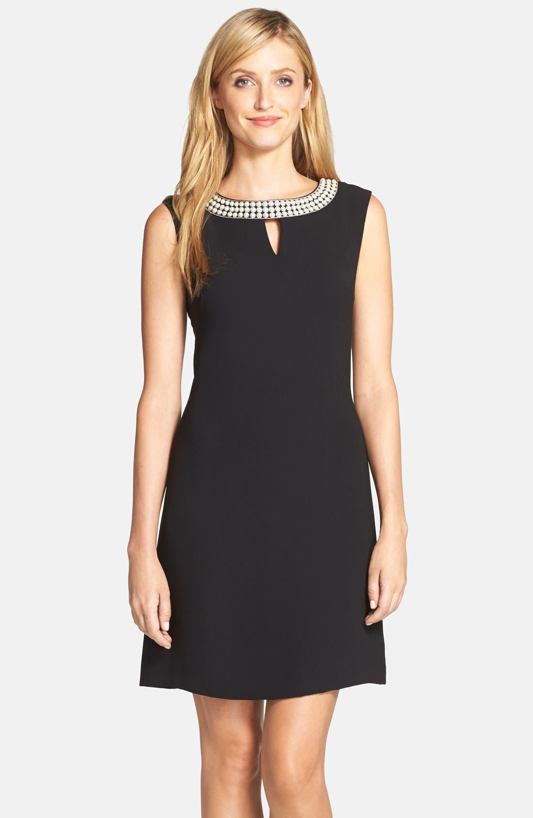Main Image - Tahari Embellished Neck Crepe Shift Dress (Regular & Petite)