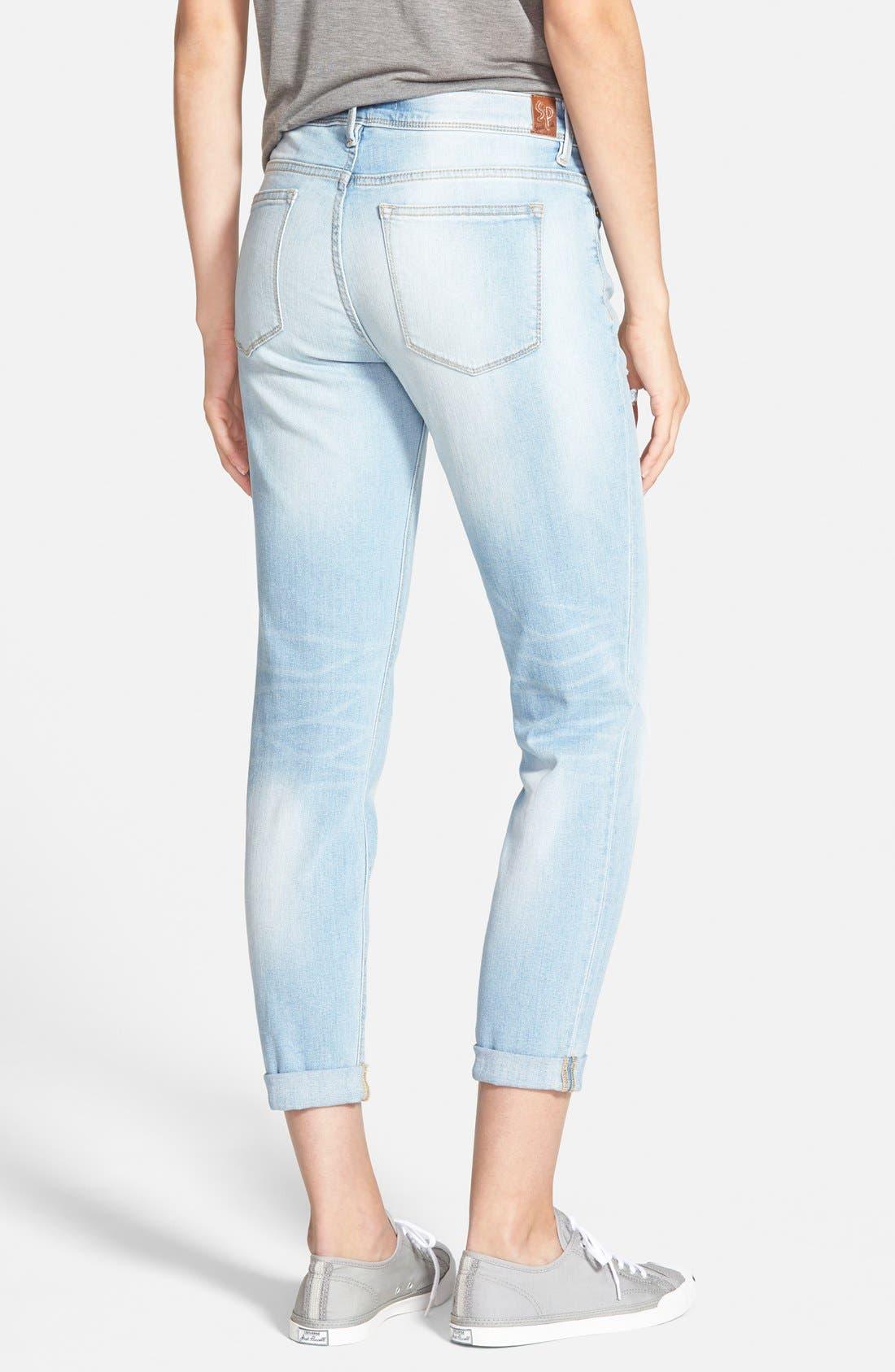 Alternate Image 2  - SP Black Distressed Crop Skinny Jeans (Light Wash)