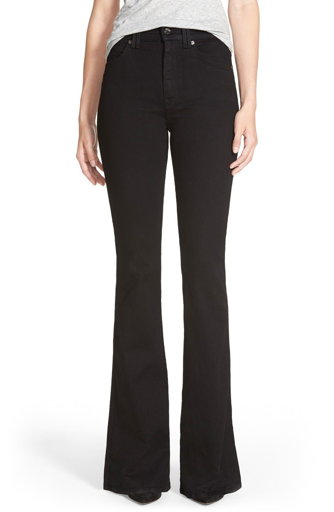 Main Image - 7 For All Mankind® High Rise Flare Jeans (Overdyed Black)