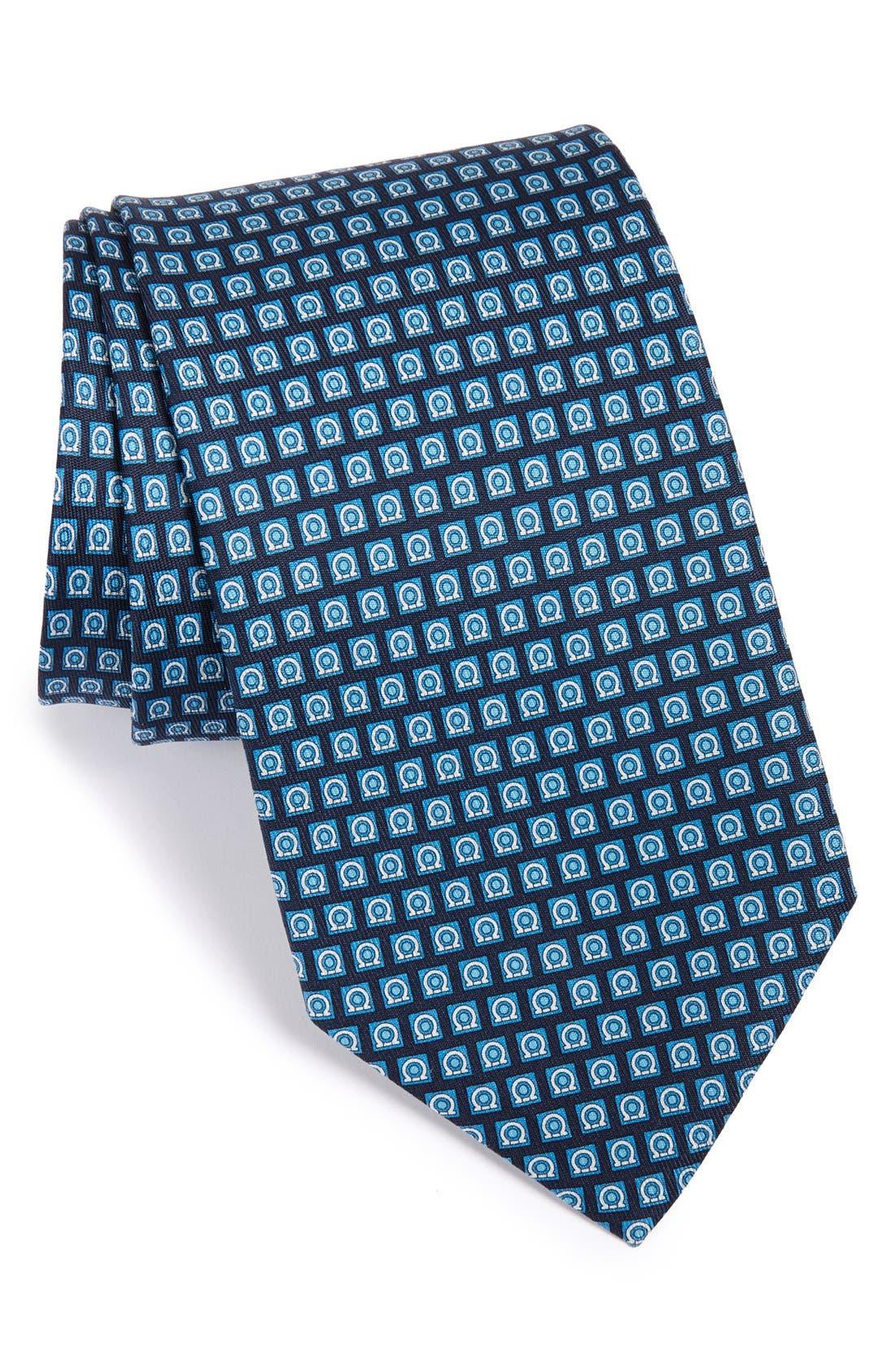 Salvatore Ferragamo Gancini Print Silk Tie