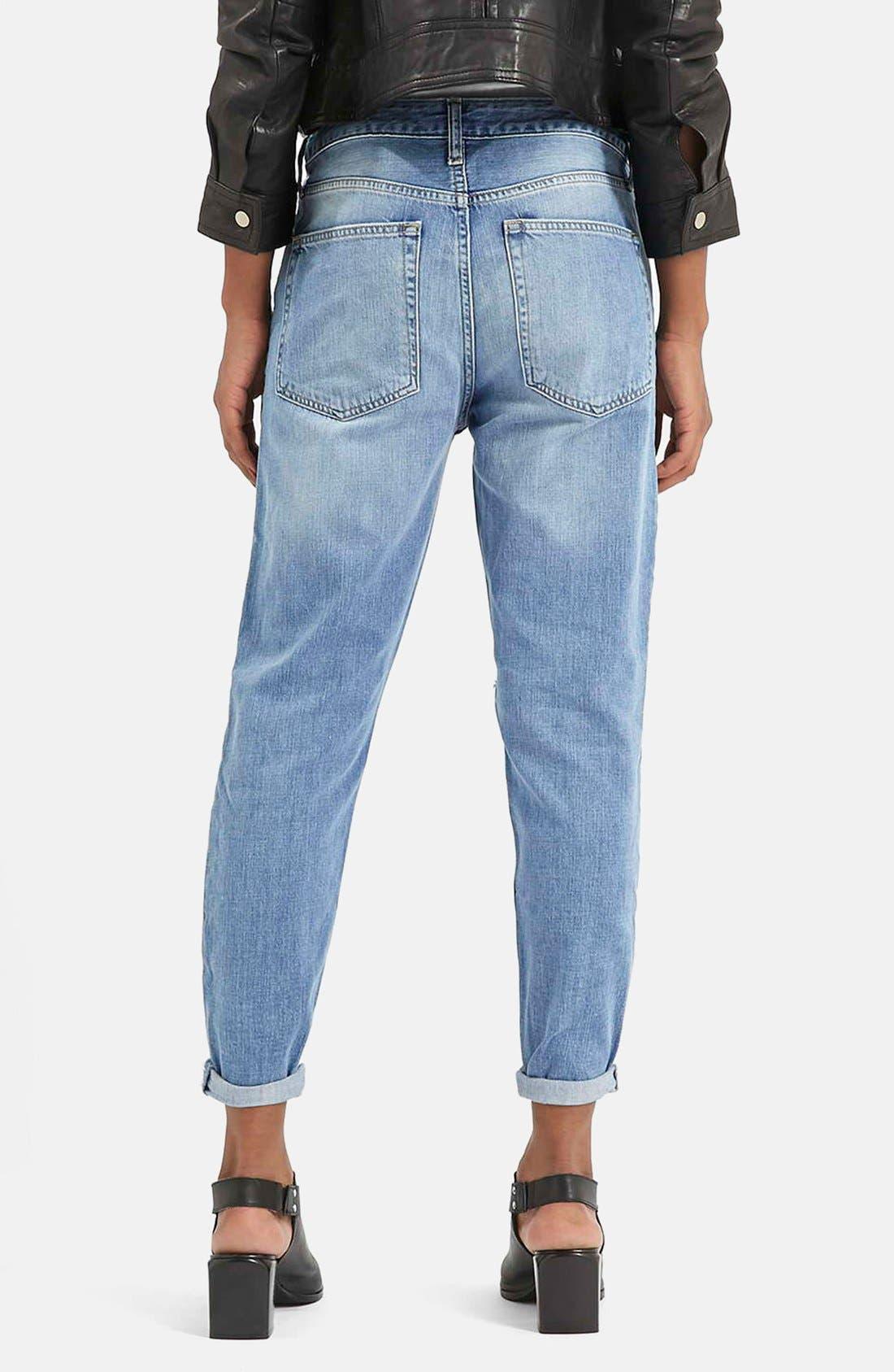 Alternate Image 2  - Topshop Moto 'Hayden' Ripped Boyfriend Jeans (Blue)